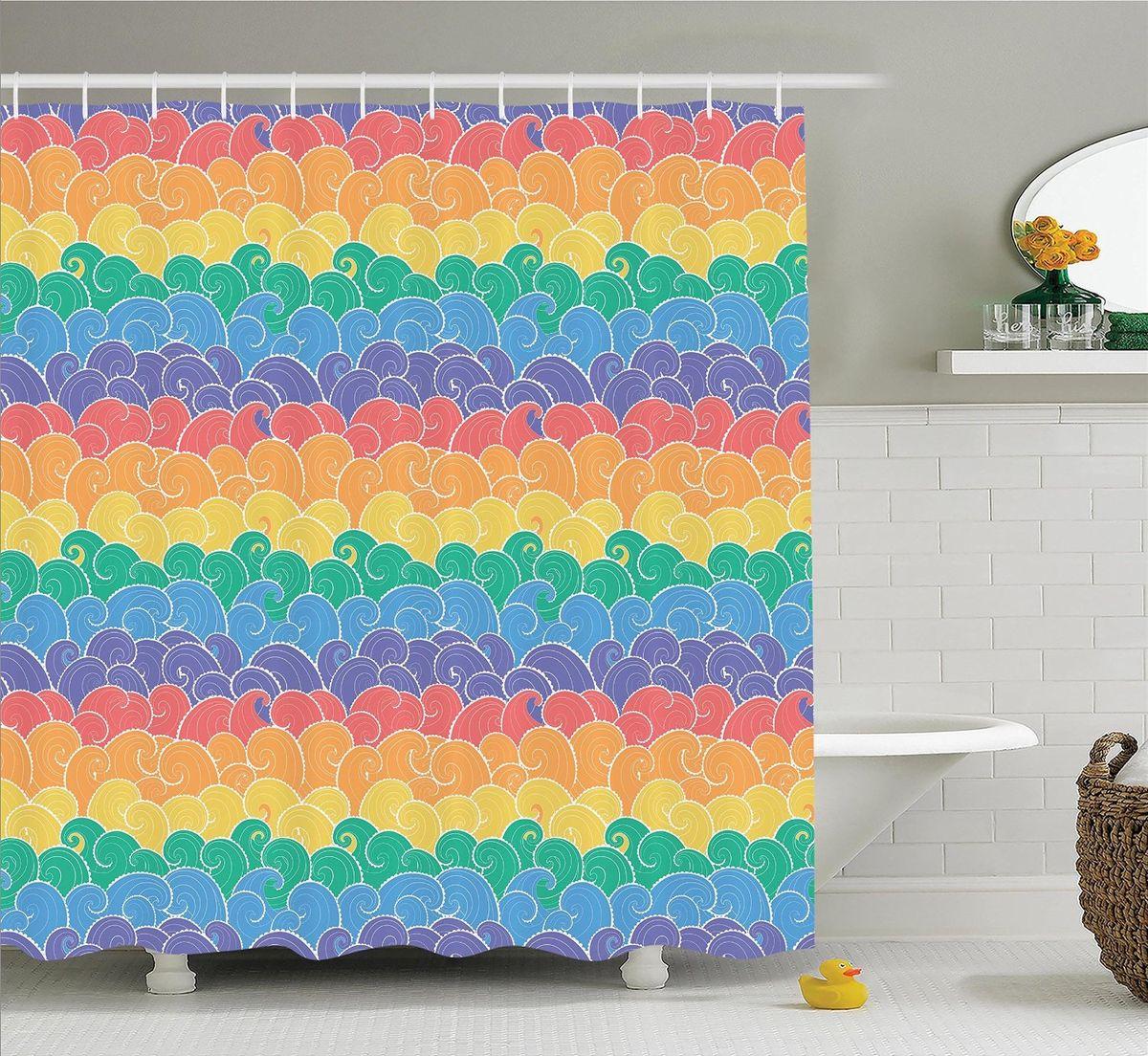 Штора для ванной комнаты Magic Lady Цветные волны, 180 х 200 см531-105Штора Magic Lady Цветные волны, изготовленная из высококачественного сатена (полиэстер 100%), отлично дополнит любой интерьер ванной комнаты. При изготовлении используются специальные гипоаллергенные чернила для прямой печати по ткани, безопасные для человека.В комплекте: 1 штора, 12 крючков. Обращаем ваше внимание, фактический цвет изделия может незначительно отличаться от представленного на фото.