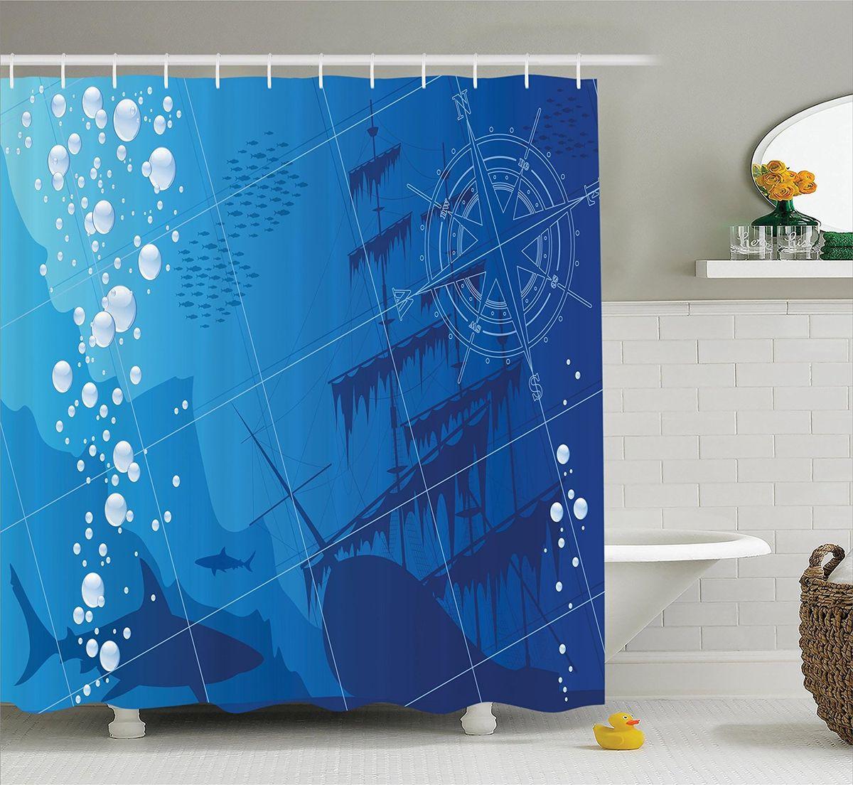Штора для ванной комнаты Magic Lady Акулы у затонувшего корабля, 180 х 200 см68/5/2Штора Magic Lady Акулы у затонувшего корабля, изготовленная из высококачественного сатена (полиэстер 100%), отлично дополнит любой интерьер ванной комнаты. При изготовлении используются специальные гипоаллергенные чернила для прямой печати по ткани, безопасные для человека. В комплекте: 1 штора, 12 крючков. Обращаем ваше внимание, фактический цвет изделия может незначительно отличаться от представленного на фото.