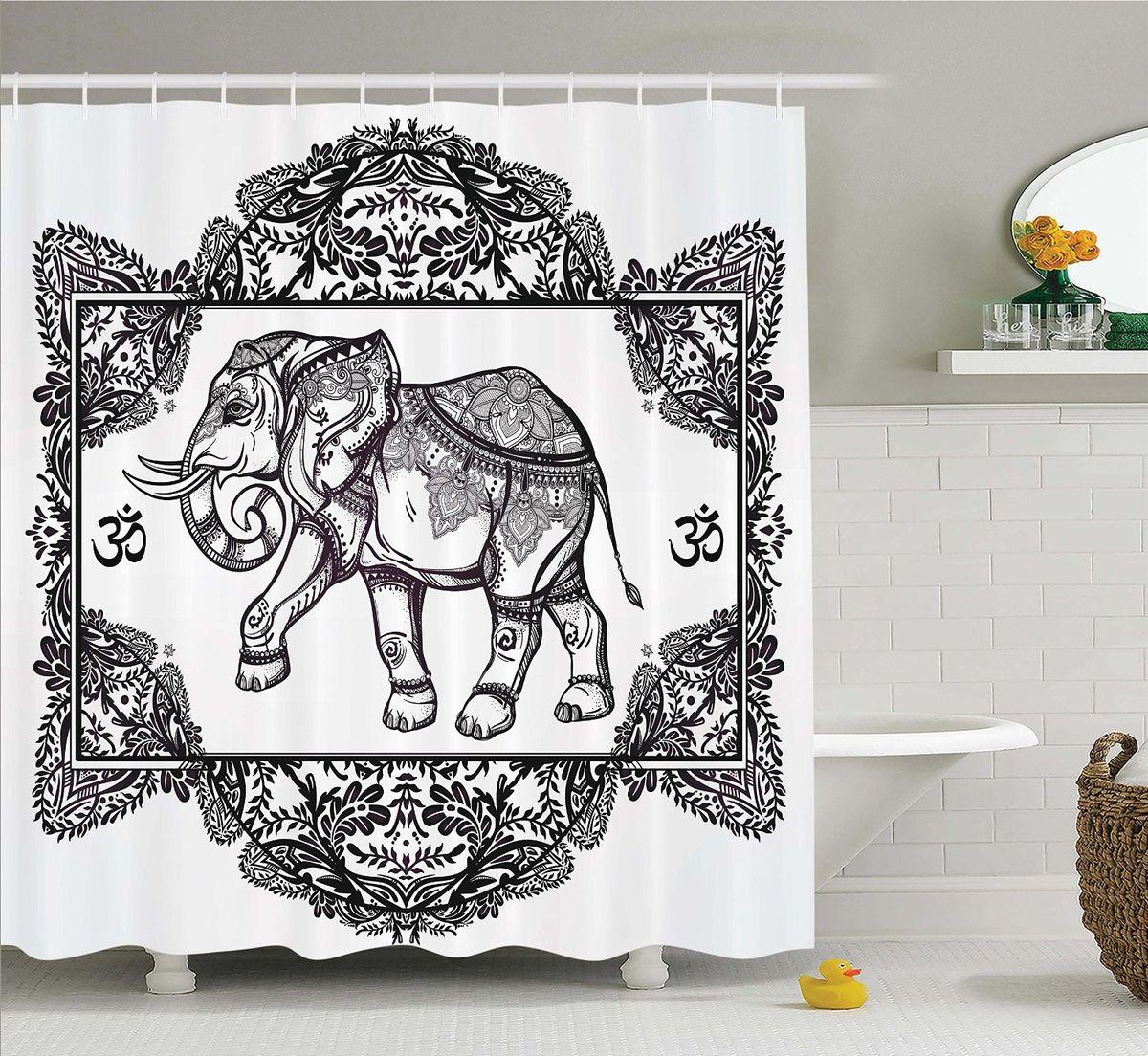 Штора для ванной комнаты Magic Lady Узорчатый слон, 180 х 200 смBK-3966Штора Magic Lady Узорчатый слон, изготовленная из высококачественного сатена (полиэстер 100%), отлично дополнит любой интерьер ванной комнаты. При изготовлении используются специальные гипоаллергенные чернила для прямой печати по ткани, безопасные для человека.В комплекте: 1 штора, 12 крючков. Обращаем ваше внимание, фактический цвет изделия может незначительно отличаться от представленного на фото.