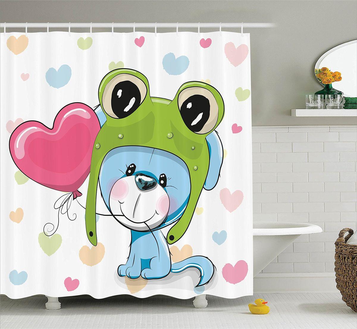 Штора для ванной комнаты Magic Lady Щенок играет, 180 х 200 смRG-D31SШтора Magic Lady Щенок играет, изготовленная из высококачественного сатена (полиэстер 100%), отлично дополнит любой интерьер ванной комнаты. При изготовлении используются специальные гипоаллергенные чернила для прямой печати по ткани, безопасные для человека.В комплекте: 1 штора, 12 крючков. Обращаем ваше внимание, фактический цвет изделия может незначительно отличаться от представленного на фото.