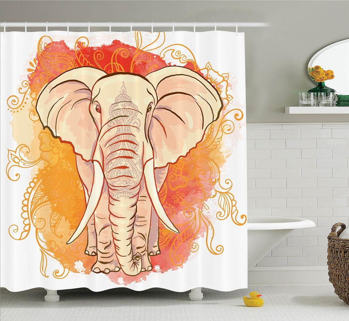 Штора для ванной комнаты Magic Lady Слон на фоне узоров, 180 х 200 см50600Штора Magic Lady Слон на фоне узоров, изготовленная из высококачественного сатена (полиэстер 100%), отлично дополнит любой интерьер ванной комнаты. При изготовлении используются специальные гипоаллергенные чернила для прямой печати по ткани, безопасные для человека.В комплекте: 1 штора, 12 крючков. Обращаем ваше внимание, фактический цвет изделия может незначительно отличаться от представленного на фото.