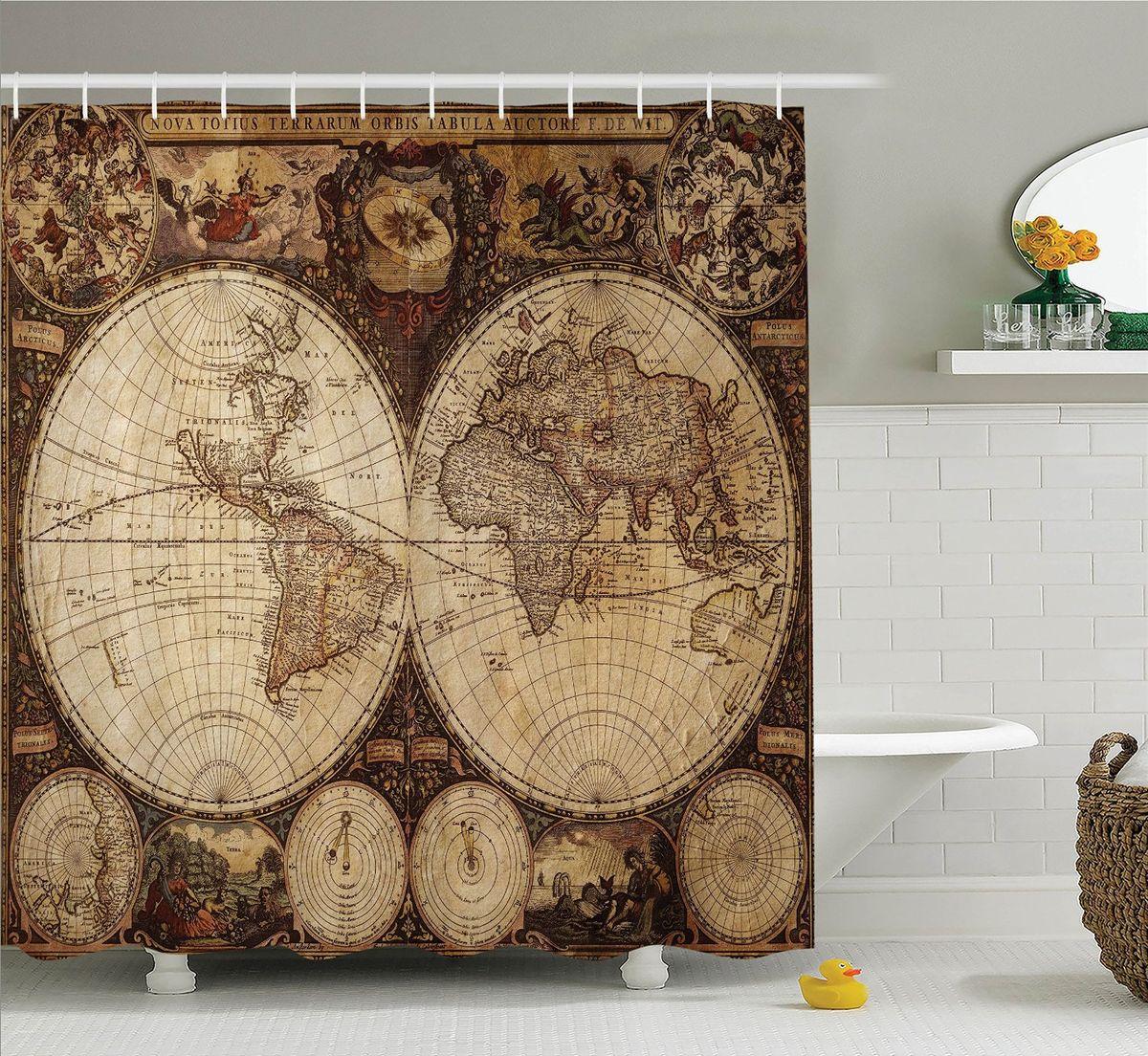 Штора для ванной комнаты Magic Lady Карта мира, 180 х 200 см. шв_13745 фотоштора для ванной утка принимает душ magic lady 180 х 200 см