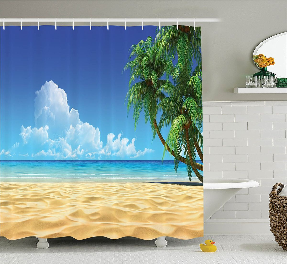 Штора для ванной комнаты Magic Lady Облака над пляжем, 180 х 200 смшв_12249Штора Magic Lady Облака над пляжем, изготовленная из высококачественного сатена (полиэстер 100%), отлично дополнит любой интерьер ванной комнаты. При изготовлении используются специальные гипоаллергенные чернила для прямой печати по ткани, безопасные для человека.В комплекте: 1 штора, 12 крючков. Обращаем ваше внимание, фактический цвет изделия может незначительно отличаться от представленного на фото.