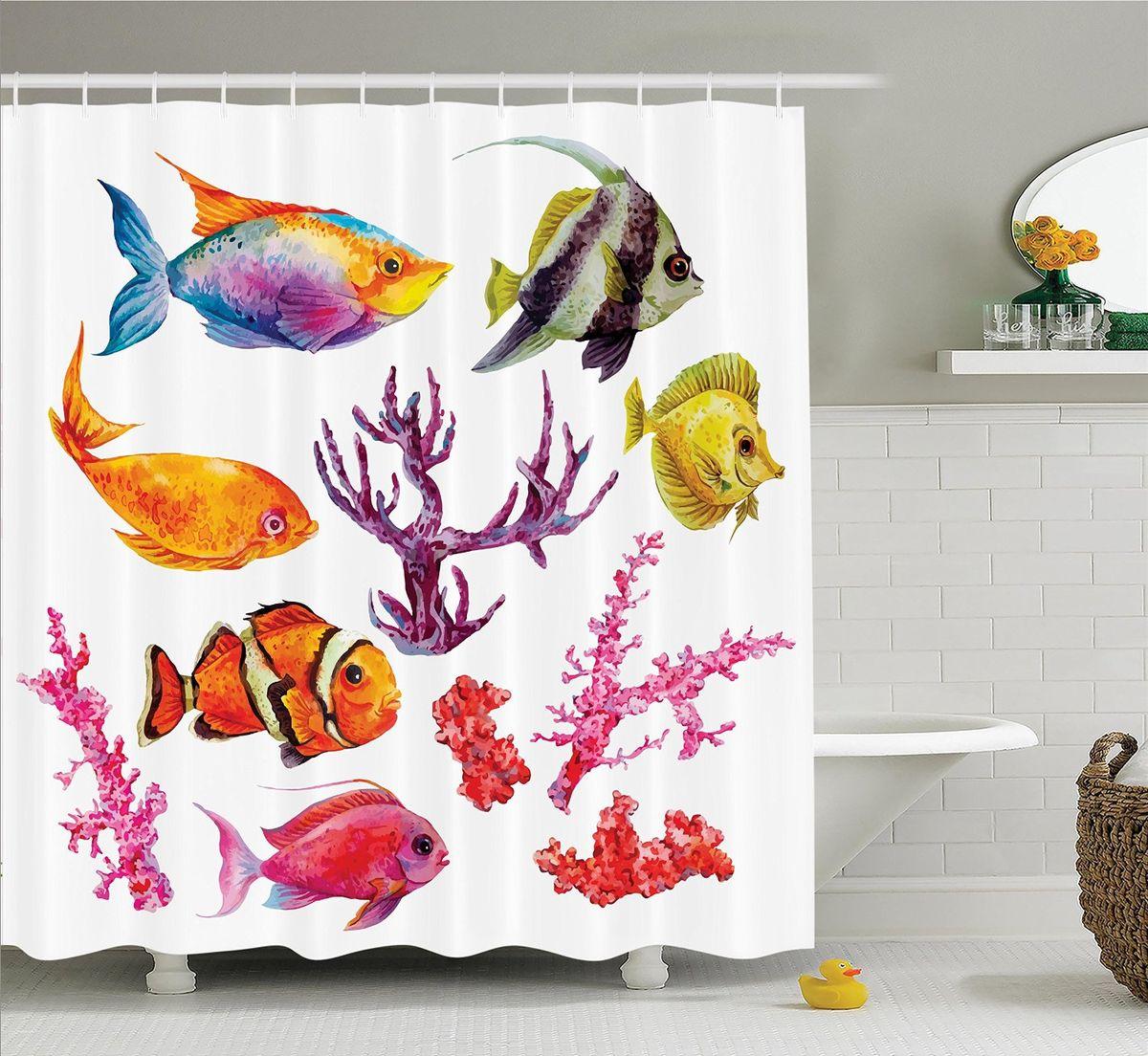Штора для ванной комнаты Magic Lady Рыбы и кораллы, 180 х 200 смBH0602-CШтора Magic Lady Рыбы и кораллы, изготовленная из высококачественного сатена (полиэстер 100%), отлично дополнит любой интерьер ванной комнаты. При изготовлении используются специальные гипоаллергенные чернила для прямой печати по ткани, безопасные для человека.В комплекте: 1 штора, 12 крючков. Обращаем ваше внимание, фактический цвет изделия может незначительно отличаться от представленного на фото.