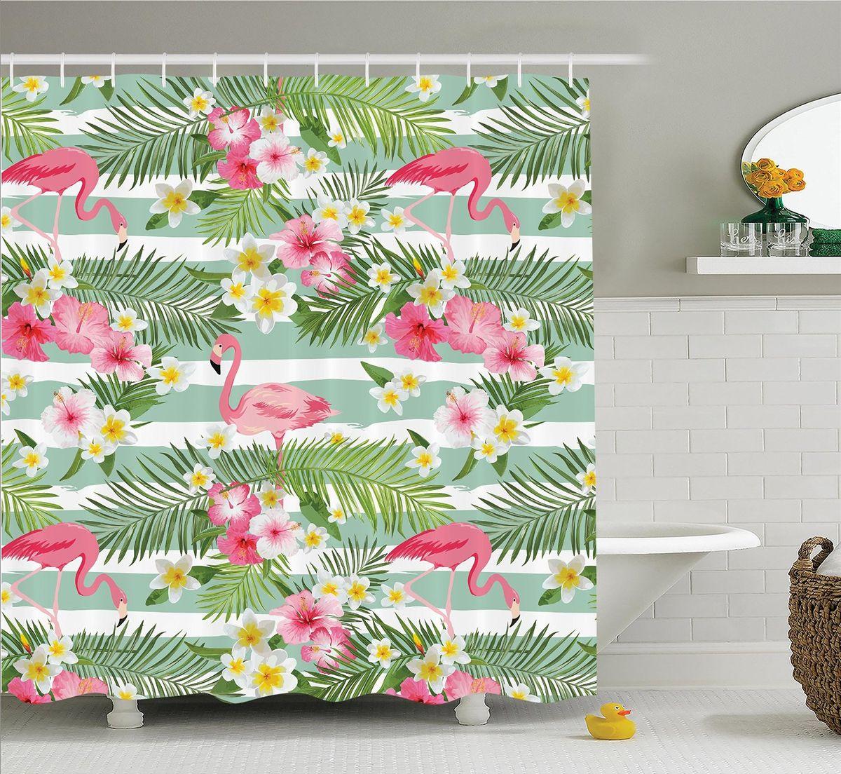 Штора для ванной комнаты Magic Lady Фламинго среди листьев и цветов, 180 х 200 смшв_12357Штора Magic Lady Фламинго среди листьев и цветов, изготовленная из высококачественного сатена (полиэстер 100%), отлично дополнит любой интерьер ванной комнаты. При изготовлении используются специальные гипоаллергенные чернила для прямой печати по ткани, безопасные для человека.В комплекте: 1 штора, 12 крючков. Обращаем ваше внимание, фактический цвет изделия может незначительно отличаться от представленного на фото.
