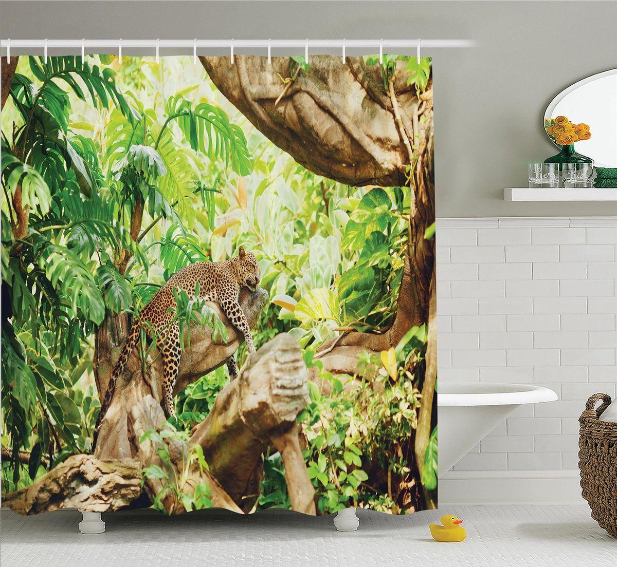 Штора для ванной комнаты Magic Lady Леопард на отдыхе, 180 х 200 смшв_12357Штора Magic Lady Леопард на отдыхе, изготовленная из высококачественного сатена (полиэстер 100%), отлично дополнит любой интерьер ванной комнаты. При изготовлении используются специальные гипоаллергенные чернила для прямой печати по ткани, безопасные для человека.В комплекте: 1 штора, 12 крючков. Обращаем ваше внимание, фактический цвет изделия может незначительно отличаться от представленного на фото.