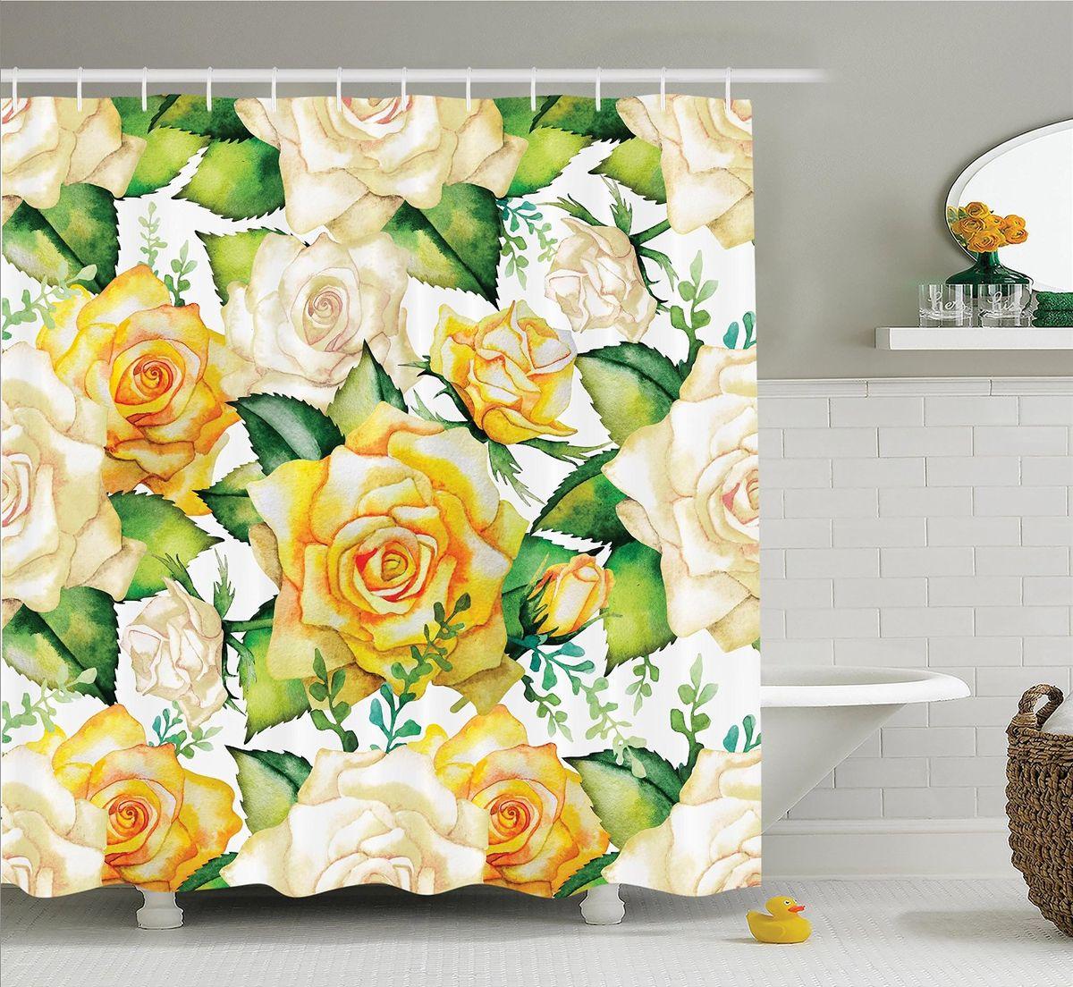 Штора для ванной комнаты Magic Lady Чайные розы, 180 х 200 смWBCH10-300Штора Magic Lady Чайные розы, изготовленная из высококачественного сатена (полиэстер 100%), отлично дополнит любой интерьер ванной комнаты. При изготовлении используются специальные гипоаллергенные чернила для прямой печати по ткани, безопасные для человека.В комплекте: 1 штора, 12 крючков. Обращаем ваше внимание, фактический цвет изделия может незначительно отличаться от представленного на фото.