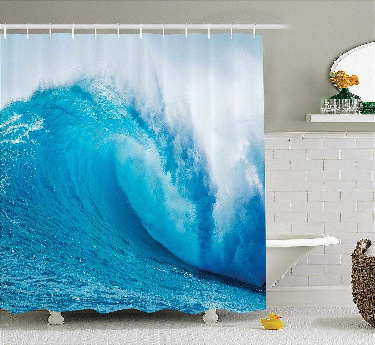 Штора для ванной комнаты Magic Lady Голубая волна, 180 х 200 см531-105Штора Magic Lady Голубая волна, изготовленная из высококачественного сатена (полиэстер 100%), отлично дополнит любой интерьер ванной комнаты. При изготовлении используются специальные гипоаллергенные чернила для прямой печати по ткани, безопасные для человека.В комплекте: 1 штора, 12 крючков. Обращаем ваше внимание, фактический цвет изделия может незначительно отличаться от представленного на фото.