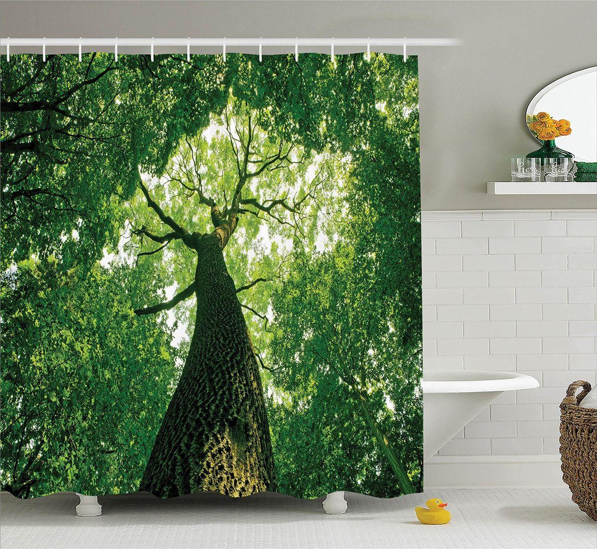 Штора для ванной комнаты Magic Lady Высокое дерево, 180 х 200 смшв_10227Штора Magic Lady Высокое дерево, изготовленная из высококачественного сатена (полиэстер 100%), отлично дополнит любой интерьер ванной комнаты. При изготовлении используются специальные гипоаллергенные чернила для прямой печати по ткани, безопасные для человека.В комплекте: 1 штора, 12 крючков. Обращаем ваше внимание, фактический цвет изделия может незначительно отличаться от представленного на фото.