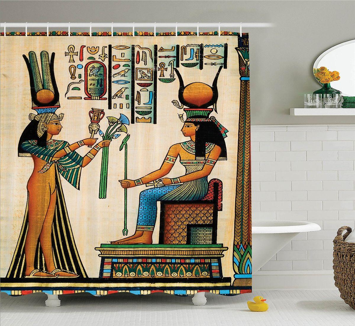 Штора для ванной комнаты Magic Lady Египетский папирус, 180 х 200 смшв_12511Штора Magic Lady Египетский папирус, изготовленная из высококачественного сатена (полиэстер 100%), отлично дополнит любой интерьер ванной комнаты. При изготовлении используются специальные гипоаллергенные чернила для прямой печати по ткани, безопасные для человека.В комплекте: 1 штора, 12 крючков. Обращаем ваше внимание, фактический цвет изделия может незначительно отличаться от представленного на фото.