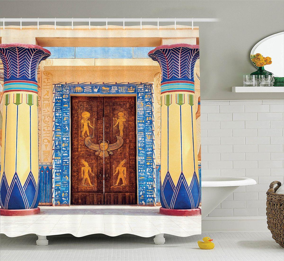 Штора для ванной комнаты Magic Lady Двери в египетском стиле, 180 х 200 см391602Штора Magic Lady Двери в египетском стиле, изготовленная из высококачественного сатена (полиэстер 100%), отлично дополнит любой интерьер ванной комнаты. При изготовлении используются специальные гипоаллергенные чернила для прямой печати по ткани, безопасные для человека.В комплекте: 1 штора, 12 крючков. Обращаем ваше внимание, фактический цвет изделия может незначительно отличаться от представленного на фото.