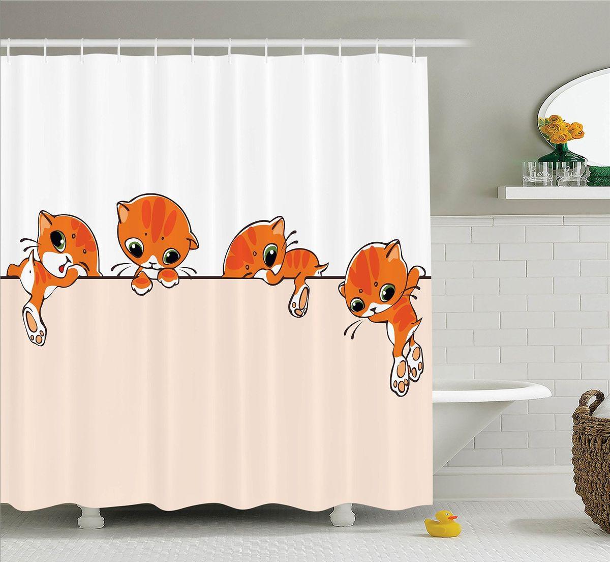 Штора для ванной комнаты Magic Lady Оранжевый котенок, 180 х 200 смT573-2Компания Сэмболь изготавливает шторы из высококачественного сатена (полиэстер 100%). При изготовлении используются специальные гипоаллергенные чернила для прямой печати по ткани, безопасные для человека и животных. Экологичность продукции Magic lady и безопасность для окружающей среды подтверждены сертификатом Oeko-Tex Standard 100. Крепление: крючки (12 шт.). Внимание! При нанесении сублимационной печати на ткань технологическим методом при температуре 240 С, возможно отклонение полученных размеров, указанных на этикетке и сайте, от стандартных на + - 3-5 см. Мы стараемся максимально точно передать цвета изделия на наших фотографиях, однако искажения неизбежны и фактический цвет изделия может отличаться от воспринимаемого по фото. Обратите внимание! Шторы изготовлены из полиэстра сатенового переплетения, а не из сатина (хлопок). Размер шторы 180*200 см. В комплекте 1 штора и 12 крючков.
