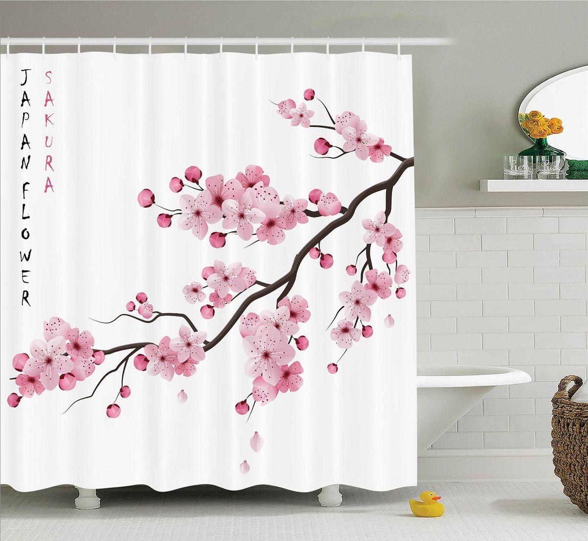 Штора для ванной комнаты Magic Lady Sakura Japan Flower, 180 х 200 см31829Штора Magic Lady Sakura Japan Flower, изготовленная из высококачественного сатена (полиэстер 100%), отлично дополнит любой интерьер ванной комнаты. При изготовлении используются специальные гипоаллергенные чернила для прямой печати по ткани, безопасные для человека.В комплекте: 1 штора, 12 крючков. Обращаем ваше внимание, фактический цвет изделия может незначительно отличаться от представленного на фото.