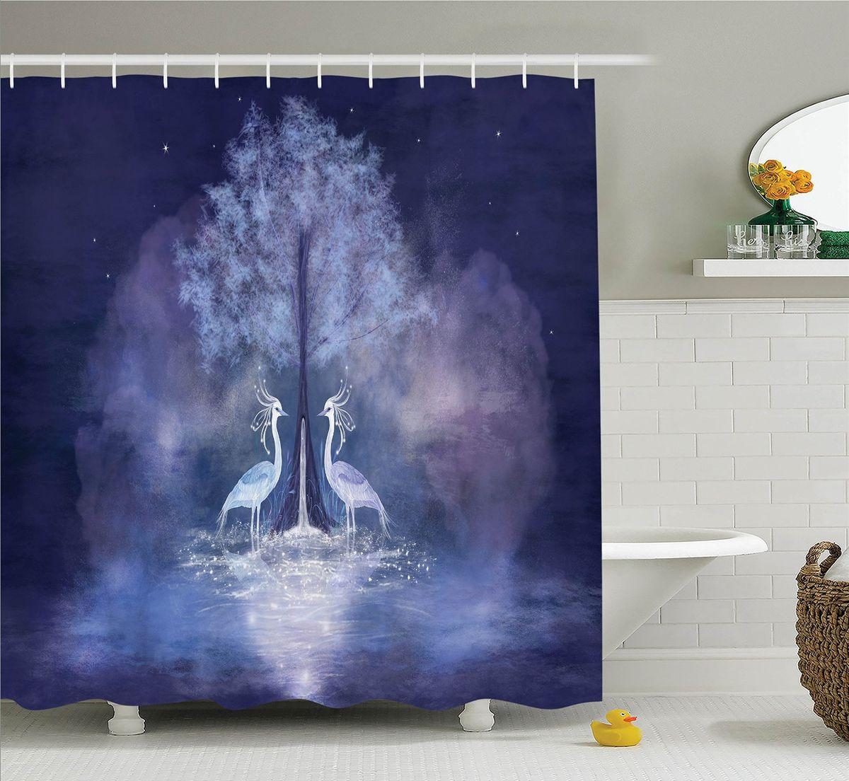 Штора для ванной комнаты Magic Lady Волшебные птицы, 180 х 200 смшв_12382Штора Magic Lady Волшебные птицы, изготовленная из высококачественного сатена (полиэстер 100%), отлично дополнит любой интерьер ванной комнаты. При изготовлении используются специальные гипоаллергенные чернила для прямой печати по ткани, безопасные для человека.В комплекте: 1 штора, 12 крючков. Обращаем ваше внимание, фактический цвет изделия может незначительно отличаться от представленного на фото.