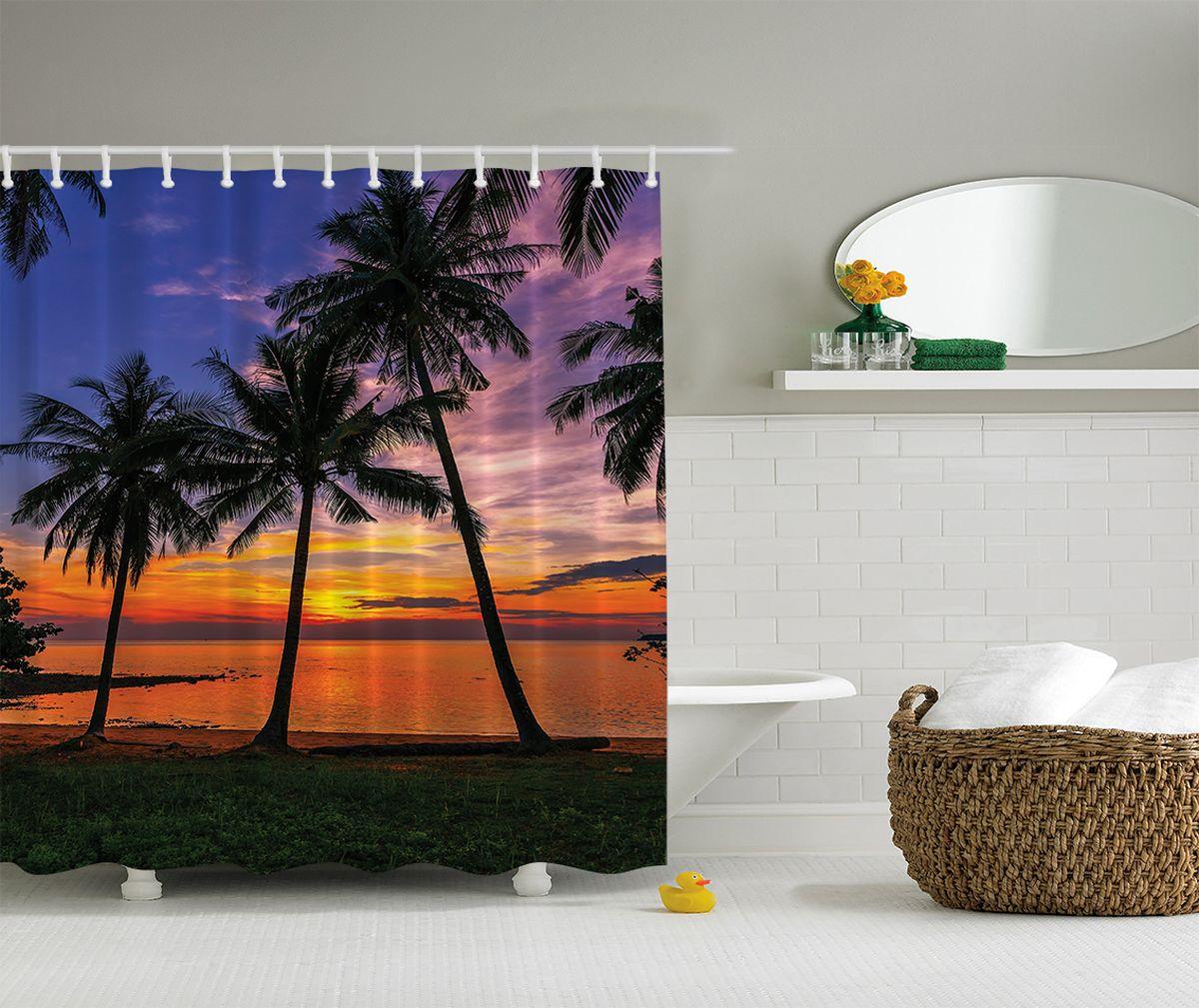 Штора для ванной комнаты Magic Lady Закат на пляже, 180 х 200 см391602Штора Magic Lady Закат на пляже, изготовленная из высококачественного сатена (полиэстер 100%), отлично дополнит любой интерьер ванной комнаты. При изготовлении используются специальные гипоаллергенные чернила для прямой печати по ткани, безопасные для человека.В комплекте: 1 штора, 12 крючков. Обращаем ваше внимание, фактический цвет изделия может незначительно отличаться от представленного на фото.