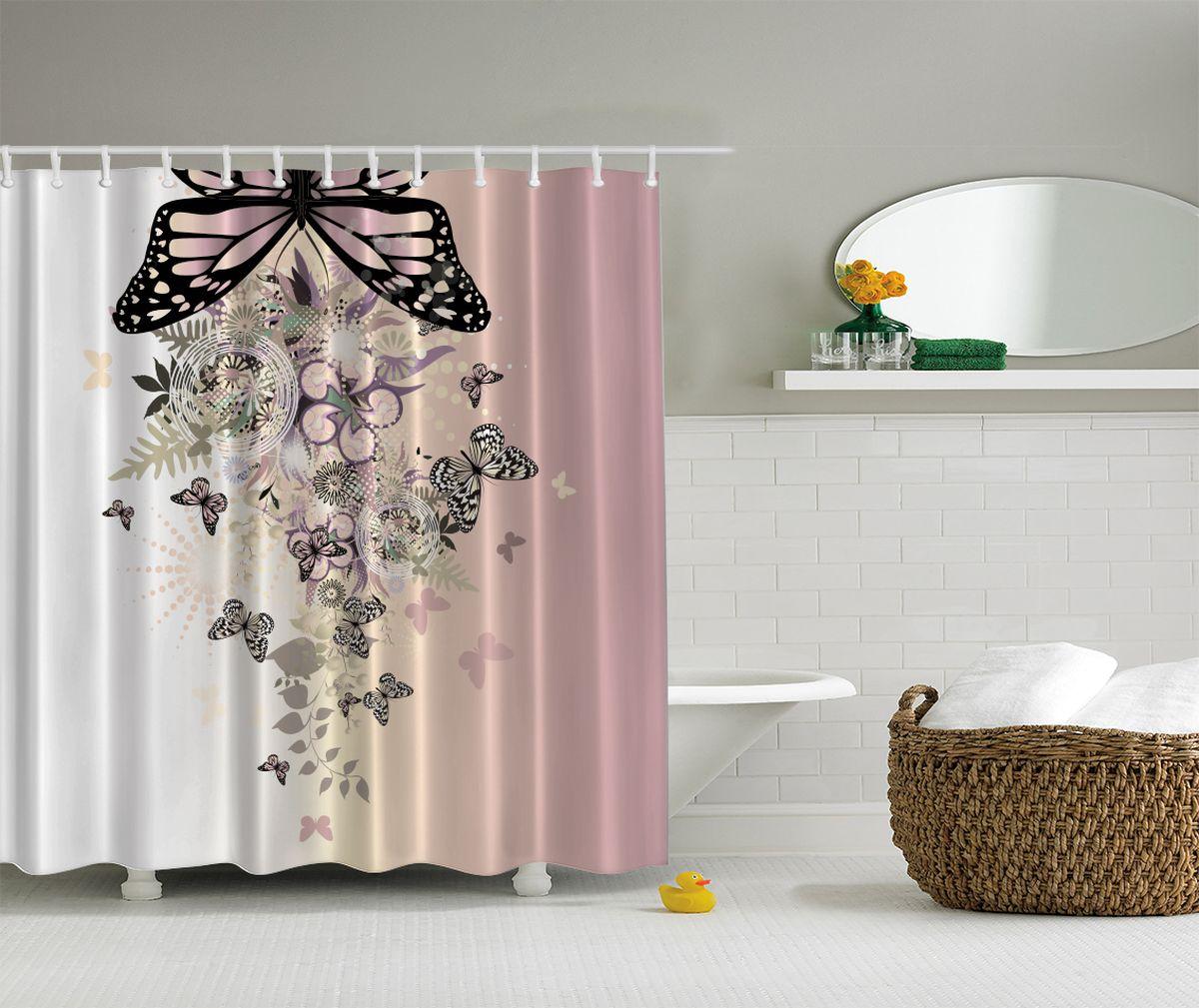 Штора для ванной комнаты Magic Lady Стая бабочек, 180 х 200 смшв_14825Штора для ванной комнаты Magic Lady Стая бабочек выполнена из высококачественного сатена (полиэстер 100%). При изготовлении используются специальные гипоаллергенные чернила. Оригинальный дизайн и цветовая гамма привлекут к себе внимание. Изделие хорошо пропускает свет и быстро высыхает. Такая штора прекрасно впишется в любой интерьер ванной комнаты и идеально защитит от брызг.