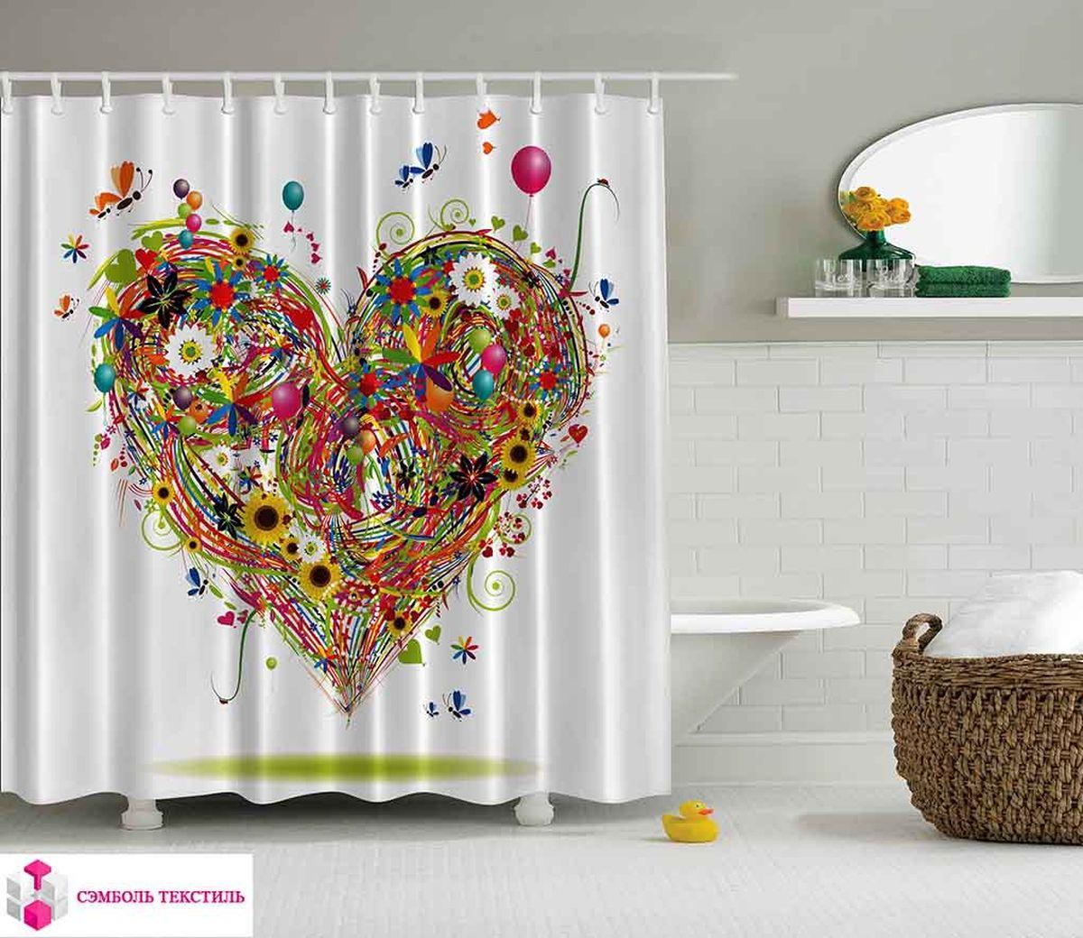 Штора для ванной комнаты Magic Lady Цветочное сердце, 180 х 200 см. шв_2693шв_15032Штора Magic Lady Цветочное сердце, изготовленная из высококачественного сатена (полиэстер 100%), отлично дополнит любой интерьер ванной комнаты. При изготовлении используются специальные гипоаллергенные чернила для прямой печати по ткани, безопасные для человека.В комплекте: 1 штора, 12 крючков. Обращаем ваше внимание, фактический цвет изделия может незначительно отличаться от представленного на фото.