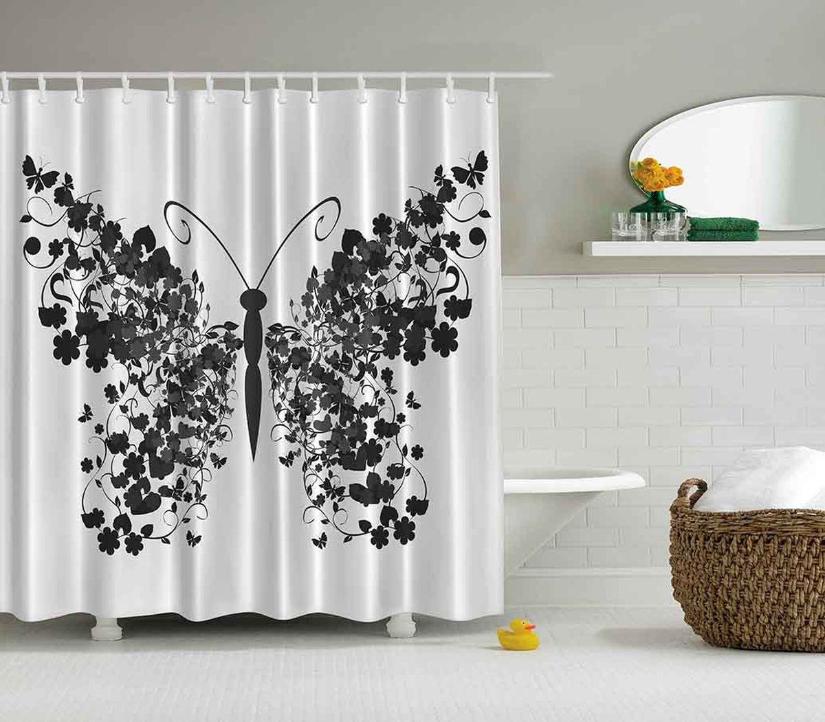 Штора для ванной комнаты Magic Lady Черная бабочка, 180 х 200 см631-08Штора Magic Lady Черная бабочка, изготовленная из высококачественного сатена (полиэстер 100%), отлично дополнит любой интерьер ванной комнаты. При изготовлении используются специальные гипоаллергенные чернила для прямой печати по ткани, безопасные для человека.В комплекте: 1 штора, 12 крючков. Обращаем ваше внимание, фактический цвет изделия может незначительно отличаться от представленного на фото.