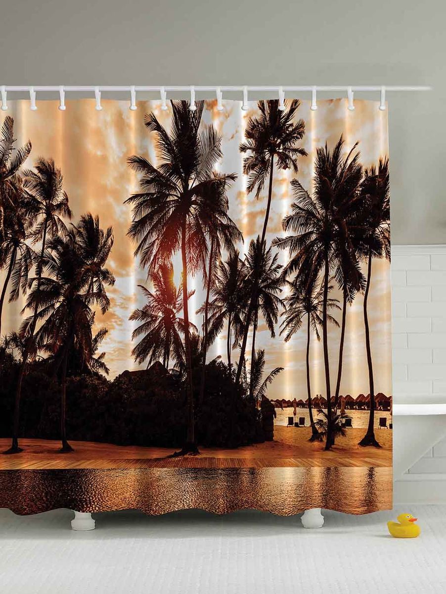 Штора для ванной комнаты Magic Lady Пальмы на закате, 180 х 200 см391602Штора Magic Lady Пальмы на закате, изготовленная из высококачественного сатена (полиэстер 100%), отлично дополнит любой интерьер ванной комнаты. При изготовлении используются специальные гипоаллергенные чернила для прямой печати по ткани, безопасные для человека.В комплекте: 1 штора, 12 крючков. Обращаем ваше внимание, фактический цвет изделия может незначительно отличаться от представленного на фото.