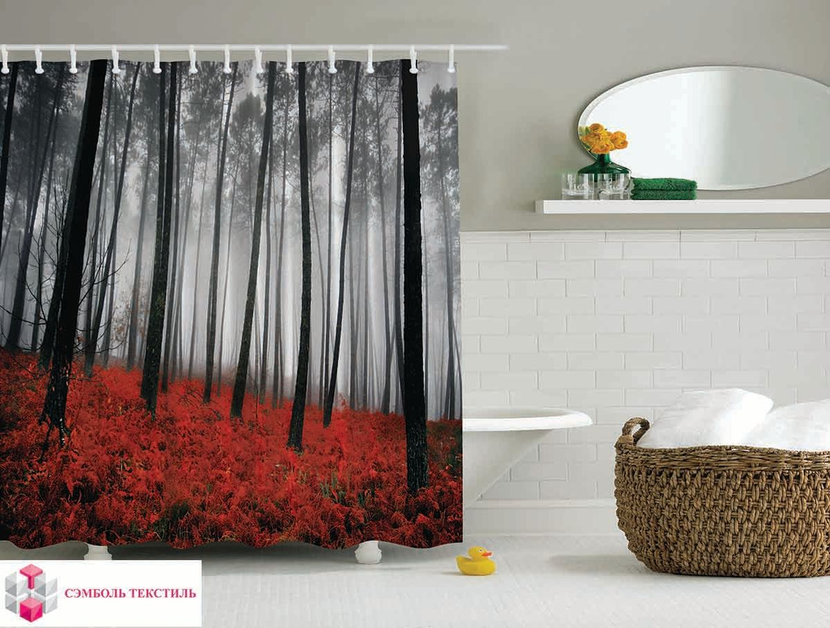 Штора для ванной комнаты Magic Lady Красный лес, 180 х 200 см391602Штора Magic Lady Красный лес, изготовленная из высококачественного сатена (полиэстер 100%), отлично дополнит любой интерьер ванной комнаты. При изготовлении используются специальные гипоаллергенные чернила для прямой печати по ткани, безопасные для человека.В комплекте: 1 штора, 12 крючков. Обращаем ваше внимание, фактический цвет изделия может незначительно отличаться от представленного на фото.