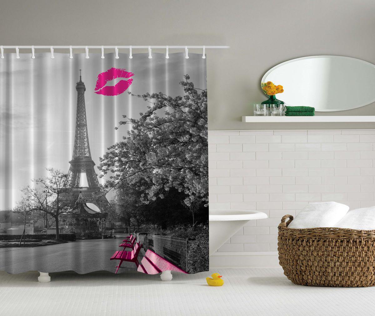 Штора для ванной комнаты Magic Lady Поцелуй в Париже, 180 х 200 см391602Штора Magic Lady Поцелуй в Париже, изготовленная из высококачественного сатена (полиэстер 100%), отлично дополнит любой интерьер ванной комнаты. При изготовлении используются специальные гипоаллергенные чернила для прямой печати по ткани, безопасные для человека.В комплекте: 1 штора, 12 крючков. Обращаем ваше внимание, фактический цвет изделия может незначительно отличаться от представленного на фото.