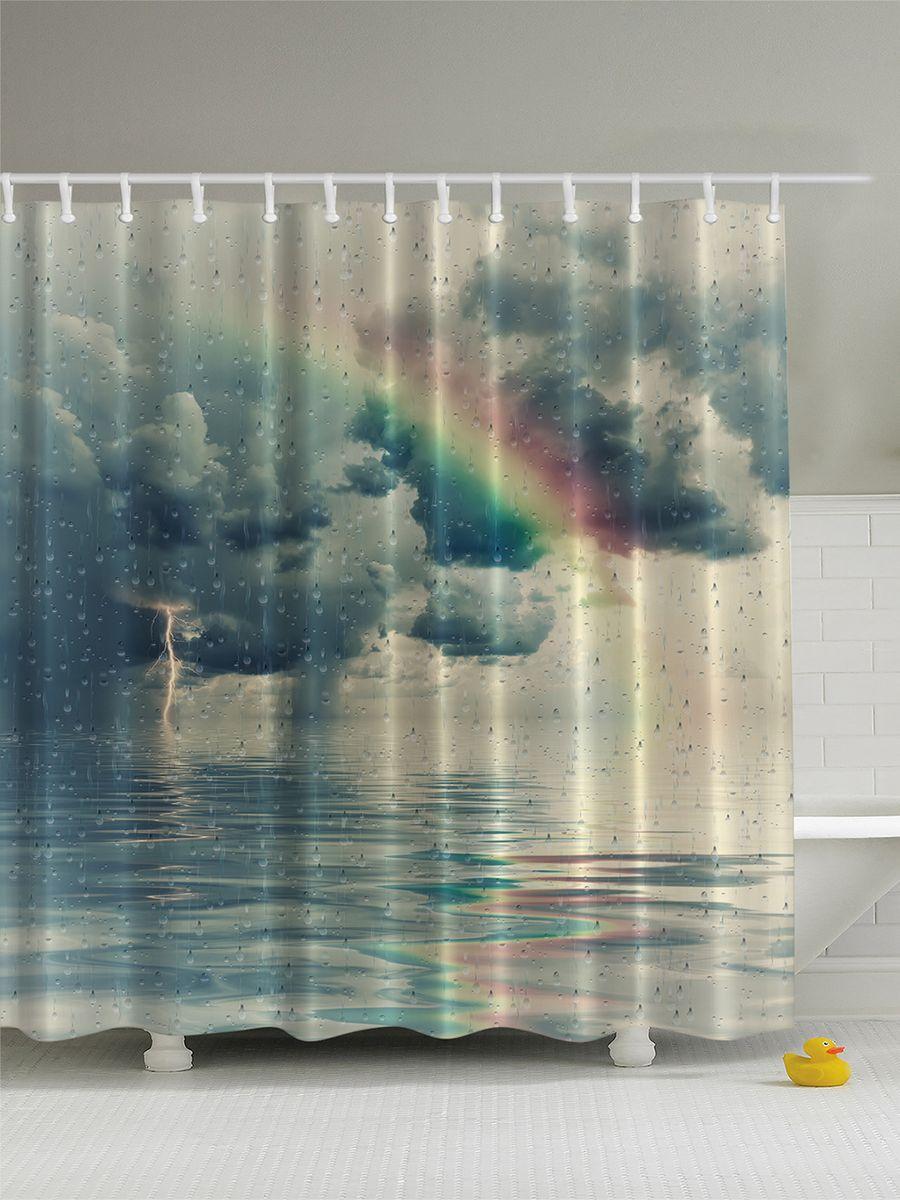 Штора для ванной комнаты Magic Lady Радуга в дождливом небе, 180 х 200 смшв_2629Штора Magic Lady Радуга в дождливом небе, изготовленная из высококачественного сатена (полиэстер 100%), отлично дополнит любой интерьер ванной комнаты. При изготовлении используются специальные гипоаллергенные чернила для прямой печати по ткани, безопасные для человека.В комплекте: 1 штора, 12 крючков. Обращаем ваше внимание, фактический цвет изделия может незначительно отличаться от представленного на фото.