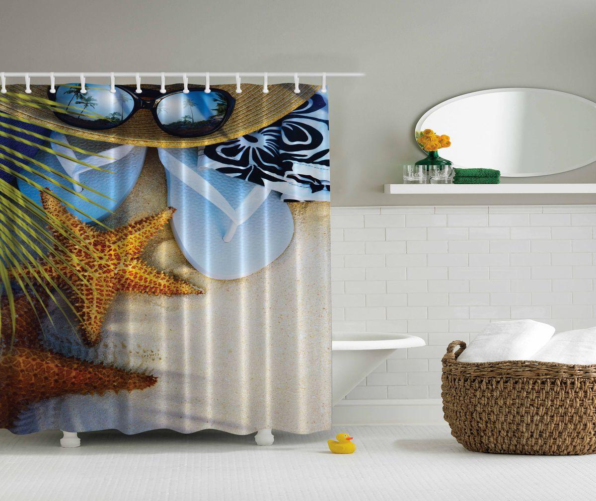 Штора для ванной комнаты Magic Lady Пляжный отдых, 180 х 200 смшв_12492Штора Magic Lady Пляжный отдых, изготовленная из высококачественного сатена (полиэстер 100%), отлично дополнит любой интерьер ванной комнаты. При изготовлении используются специальные гипоаллергенные чернила для прямой печати по ткани, безопасные для человека.В комплекте: 1 штора, 12 крючков. Обращаем ваше внимание, фактический цвет изделия может незначительно отличаться от представленного на фото.