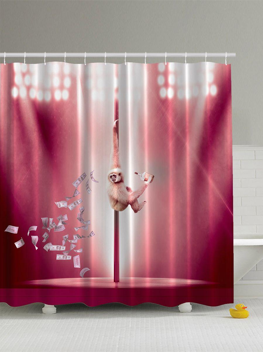 Штора для ванной комнаты Magic Lady Обезьяна, сцена, деньги, алкоголь и шест, 180 х 200 см531-401Штора Magic Lady Обезьяна, сцена, деньги, алкоголь и шест, изготовленная из высококачественного сатена (полиэстер 100%), отлично дополнит любой интерьер ванной комнаты. При изготовлении используются специальные гипоаллергенные чернила для прямой печати по ткани, безопасные для человека.В комплекте: 1 штора, 12 крючков. Обращаем ваше внимание, фактический цвет изделия может незначительно отличаться от представленного на фото.