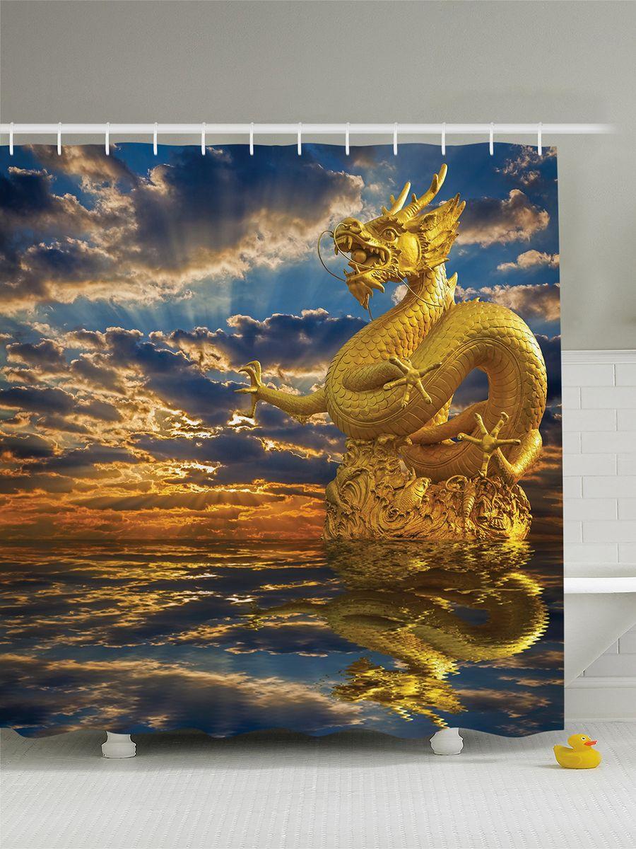 Штора для ванной комнаты Magic Lady Китайский дракон, 180 х 200 см391602Штора Magic Lady Китайский дракон, изготовленная из высококачественного сатена (полиэстер 100%), отлично дополнит любой интерьер ванной комнаты. При изготовлении используются специальные гипоаллергенные чернила для прямой печати по ткани, безопасные для человека.В комплекте: 1 штора, 12 крючков. Обращаем ваше внимание, фактический цвет изделия может незначительно отличаться от представленного на фото.
