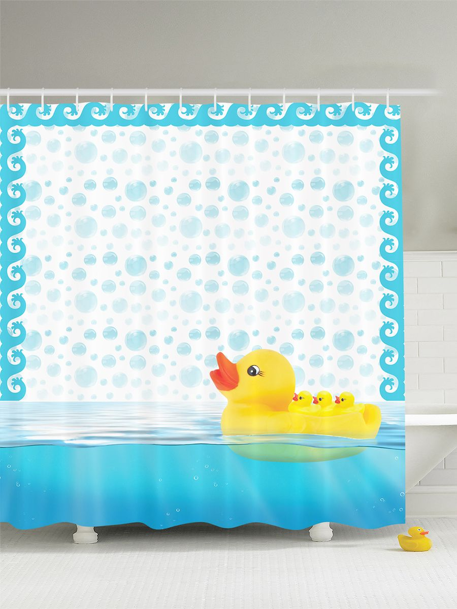 Штора для ванной комнаты Magic Lady Резиновые уточки, 180 х 200 см391602Штора Magic Lady Резиновые уточки, изготовленная из высококачественного сатена (полиэстер 100%), отлично дополнит любой интерьер ванной комнаты. При изготовлении используются специальные гипоаллергенные чернила для прямой печати по ткани, безопасные для человека.В комплекте: 1 штора, 12 крючков. Обращаем ваше внимание, фактический цвет изделия может незначительно отличаться от представленного на фото.