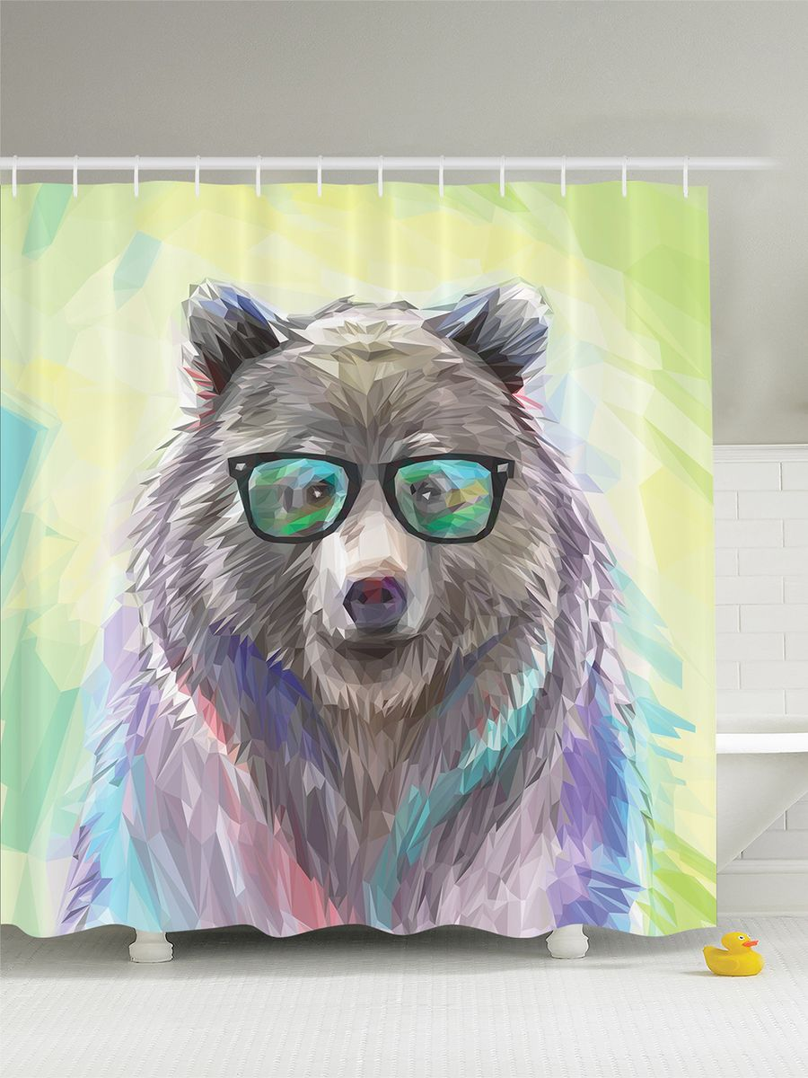 Штора для ванной комнаты Magic Lady Медведь в очках, 180 х 200 смшв_2638Штора Magic Lady Медведь в очках, изготовленная из высококачественного сатена (полиэстер 100%), отлично дополнит любой интерьер ванной комнаты. При изготовлении используются специальные гипоаллергенные чернила для прямой печати по ткани, безопасные для человека.В комплекте: 1 штора, 12 крючков. Обращаем ваше внимание, фактический цвет изделия может незначительно отличаться от представленного на фото.