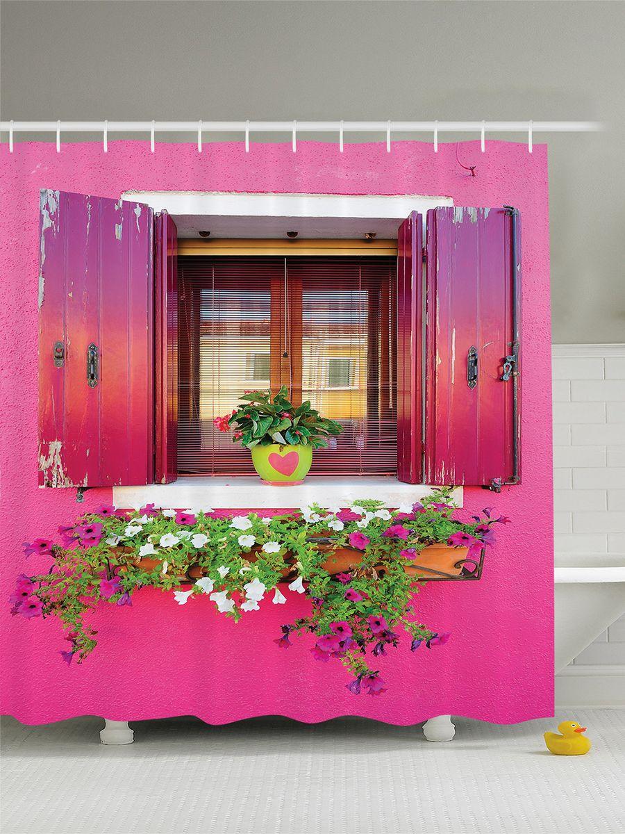 Штора для ванной комнаты Magic Lady Цветы на розовом окне, 180 х 200 см штора для ванной комнаты magic lady ателье  180 х 200 см
