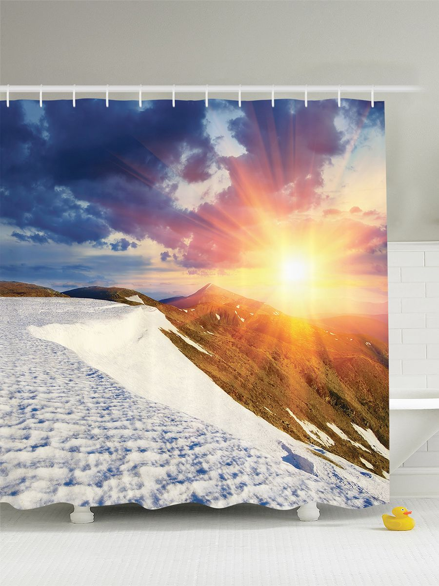 Штора для ванной комнаты Magic Lady Солнце над горами, 180 х 200 см68/5/3Штора Magic Lady Солнце над горами, изготовленная из высококачественного сатена (полиэстер 100%), отлично дополнит любой интерьер ванной комнаты. При изготовлении используются специальные гипоаллергенные чернила для прямой печати по ткани, безопасные для человека.В комплекте: 1 штора, 12 крючков. Обращаем ваше внимание, фактический цвет изделия может незначительно отличаться от представленного на фото.