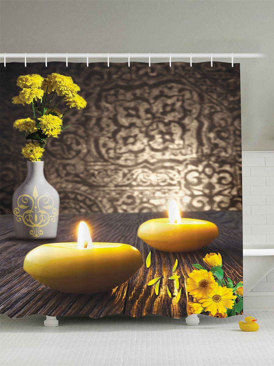 Штора для ванной комнаты Magic Lady SPA: свечи, цветы и ваза, 180 х 200 см фотоштора для ванной утка принимает душ magic lady 180 х 200 см
