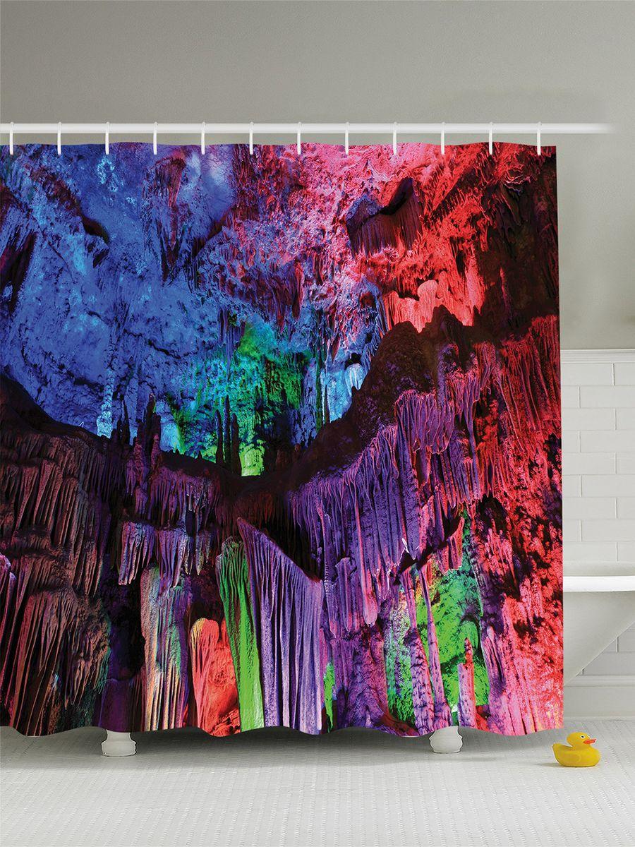 Штора для ванной комнаты Magic Lady Цветные сталактиты, 180 х 200 см531-105Штора Magic Lady Цветные сталактиты, изготовленная из высококачественного сатена (полиэстер 100%), отлично дополнит любой интерьер ванной комнаты. При изготовлении используются специальные гипоаллергенные чернила для прямой печати по ткани, безопасные для человека.В комплекте: 1 штора, 12 крючков. Обращаем ваше внимание, фактический цвет изделия может незначительно отличаться от представленного на фото.