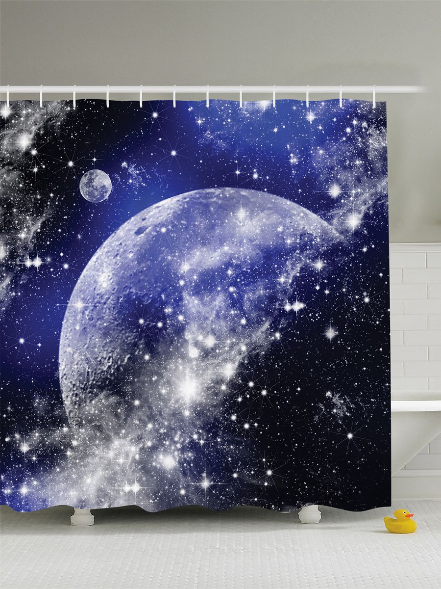 Штора для ванной комнаты Magic Lady Планеты и звезды, 180 х 200 смшв_12171Штора Magic Lady Планеты и звезды, изготовленная из высококачественного сатена (полиэстер 100%), отлично дополнит любой интерьер ванной комнаты. При изготовлении используются специальные гипоаллергенные чернила для прямой печати по ткани, безопасные для человека.В комплекте: 1 штора, 12 крючков. Обращаем ваше внимание, фактический цвет изделия может незначительно отличаться от представленного на фото.