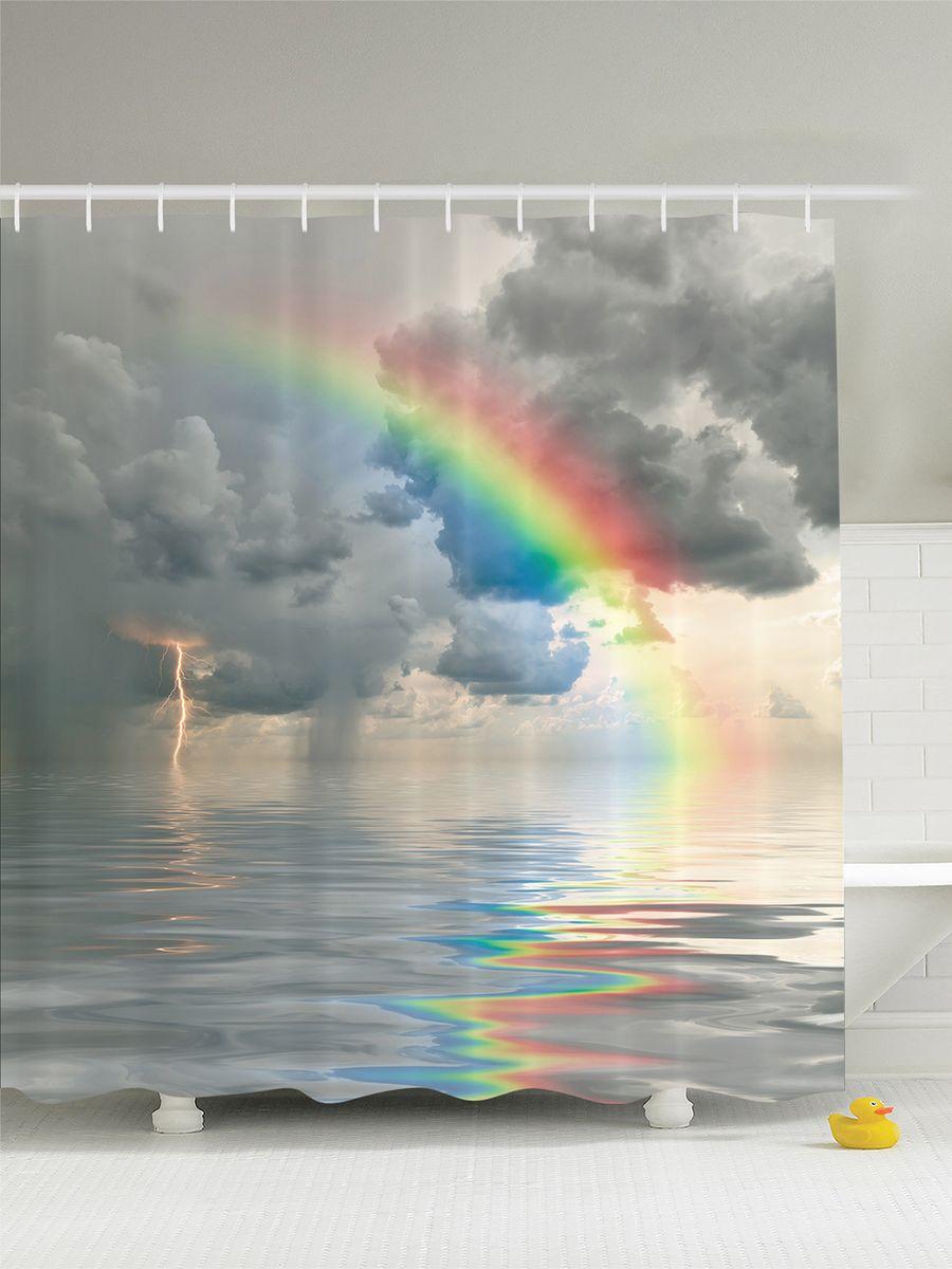 Штора для ванной комнаты Magic Lady Радуга над морем, 180 х 200 смшв_5279Штора Magic Lady Радуга над морем, изготовленная из высококачественного сатена (полиэстер 100%), отлично дополнит любой интерьер ванной комнаты. При изготовлении используются специальные гипоаллергенные чернила для прямой печати по ткани, безопасные для человека.В комплекте: 1 штора, 12 крючков. Обращаем ваше внимание, фактический цвет изделия может незначительно отличаться от представленного на фото.