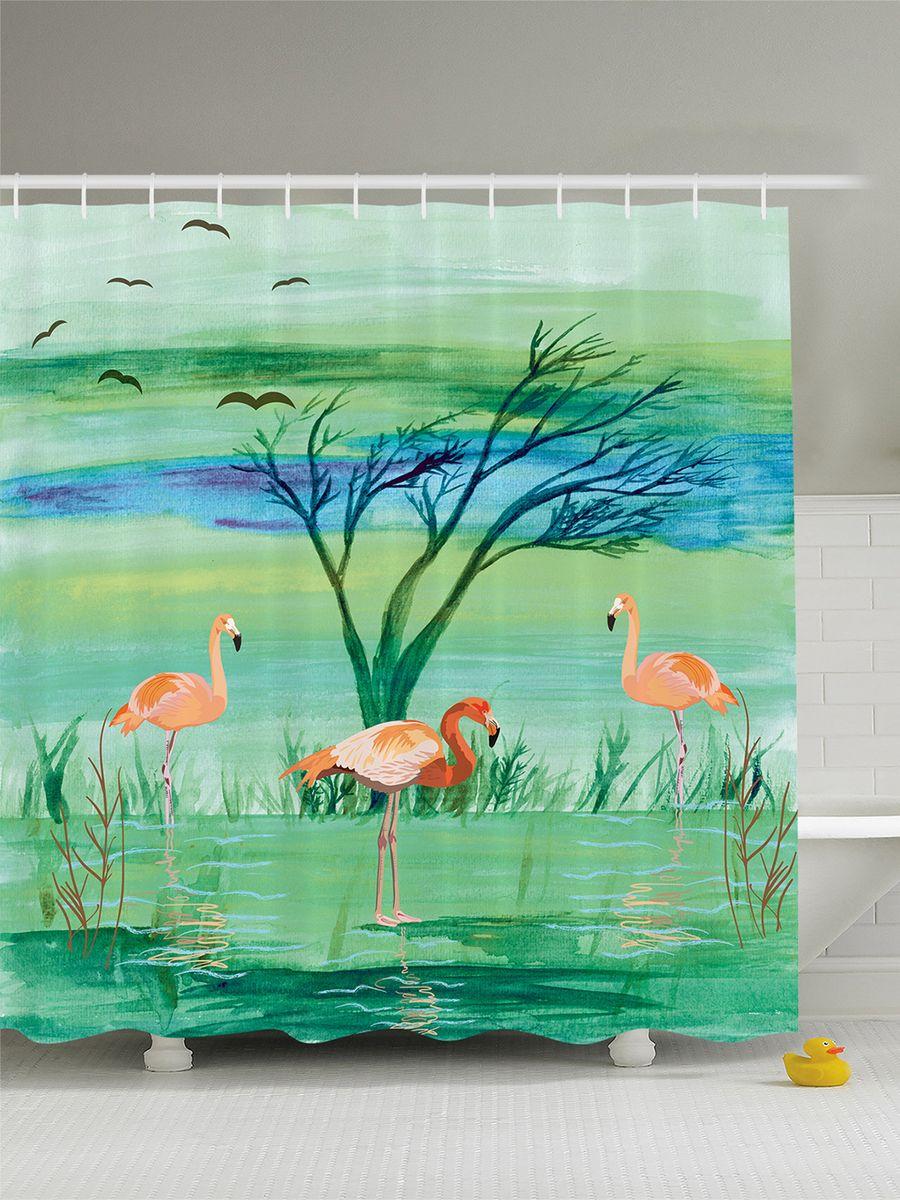 Штора для ванной комнаты Magic Lady Фламинго в зеленой воде, 180 х 200 смшв_3531Штора Magic Lady Фламинго в зеленой воде, изготовленная из высококачественного сатена (полиэстер 100%), отлично дополнит любой интерьер ванной комнаты. При изготовлении используются специальные гипоаллергенные чернила для прямой печати по ткани, безопасные для человека.В комплекте: 1 штора, 12 крючков. Обращаем ваше внимание, фактический цвет изделия может незначительно отличаться от представленного на фото.