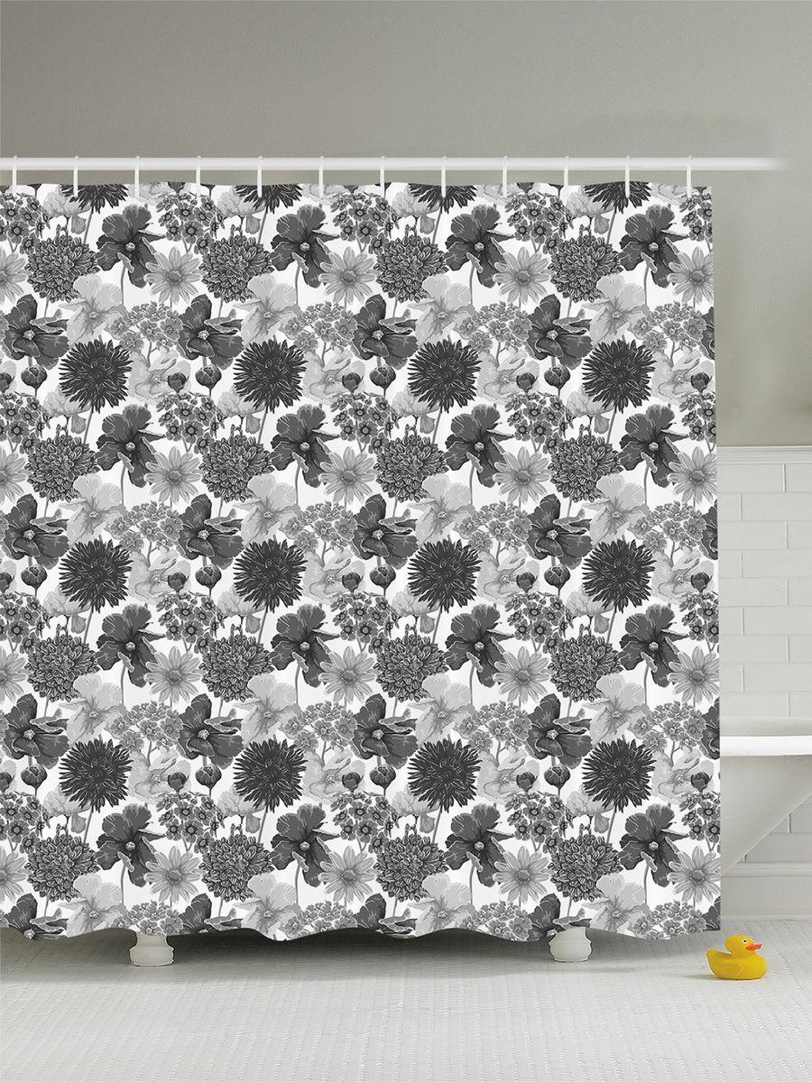 Штора для ванной комнаты Magic Lady Серые цветы, 180 х 200 см391602Штора Magic Lady Серые цветы, изготовленная из высококачественного сатена (полиэстер 100%), отлично дополнит любой интерьер ванной комнаты. При изготовлении используются специальные гипоаллергенные чернила для прямой печати по ткани, безопасные для человека.В комплекте: 1 штора, 12 крючков. Обращаем ваше внимание, фактический цвет изделия может незначительно отличаться от представленного на фото.
