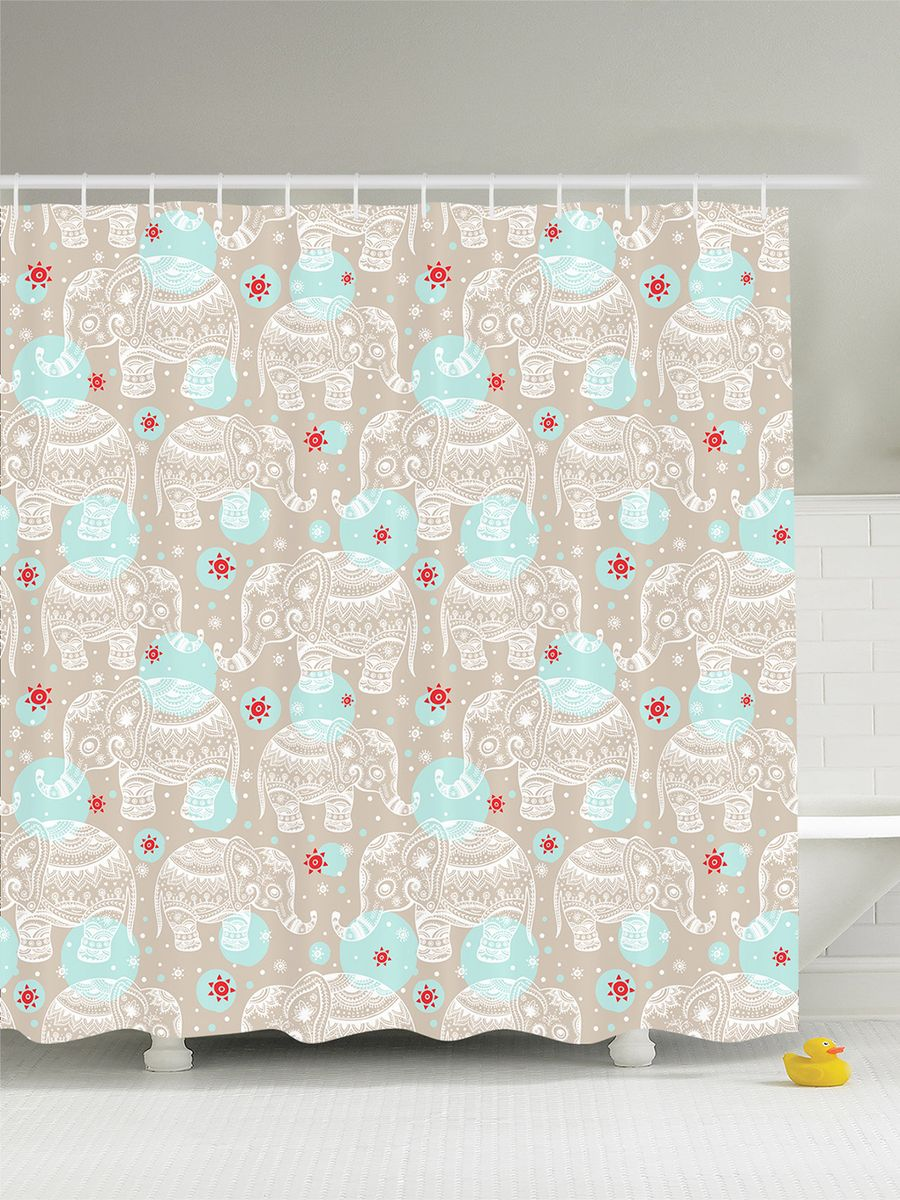 Штора для ванной комнаты Magic Lady Узорчатые слоники, 180 х 200 смшв_4154Штора Magic Lady Узорчатые слоники, изготовленная из высококачественного сатена (полиэстер 100%), отлично дополнит любой интерьер ванной комнаты. При изготовлении используются специальные гипоаллергенные чернила для прямой печати по ткани, безопасные для человека.В комплекте: 1 штора, 12 крючков. Обращаем ваше внимание, фактический цвет изделия может незначительно отличаться от представленного на фото.
