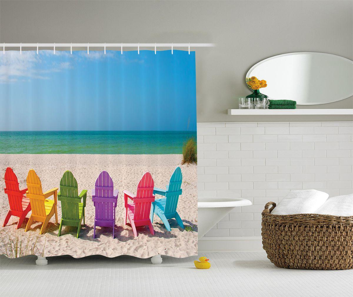 Штора для ванной комнаты Magic Lady Разноцветные шезлонги, 180 х 200 см391602Штора Magic Lady Разноцветные шезлонги, изготовленная из высококачественного сатена (полиэстер 100%), отлично дополнит любой интерьер ванной комнаты. При изготовлении используются специальные гипоаллергенные чернила для прямой печати по ткани, безопасные для человека.В комплекте: 1 штора, 12 крючков. Обращаем ваше внимание, фактический цвет изделия может незначительно отличаться от представленного на фото.