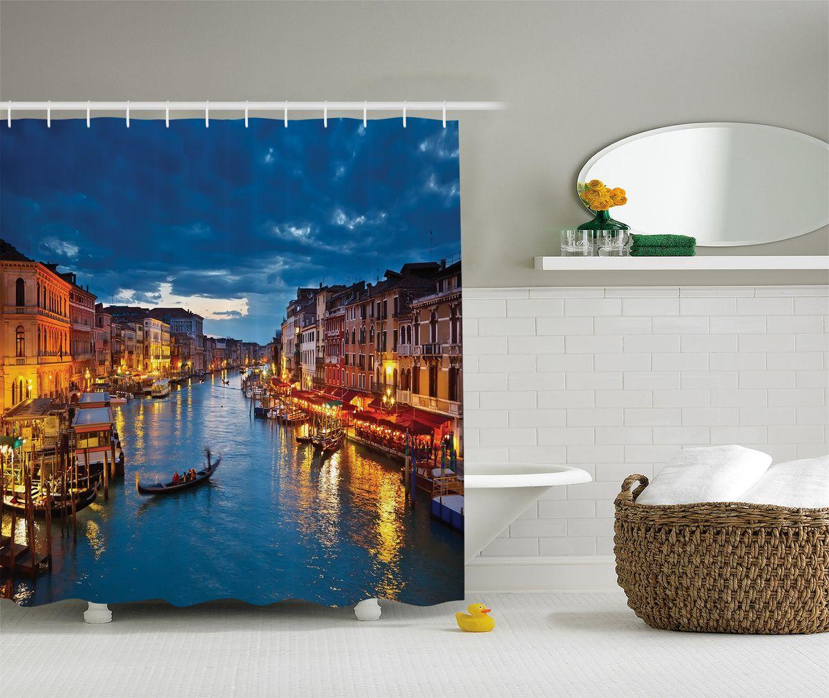 Штора для ванной комнаты Magic Lady Вечерняя Венеция, 180 х 200 см68/5/3Штора Magic Lady Вечерняя Венеция, изготовленная из высококачественного сатена (полиэстер 100%), отлично дополнит любой интерьер ванной комнаты. При изготовлении используются специальные гипоаллергенные чернила для прямой печати по ткани, безопасные для человека.В комплекте: 1 штора, 12 крючков. Обращаем ваше внимание, фактический цвет изделия может незначительно отличаться от представленного на фото.