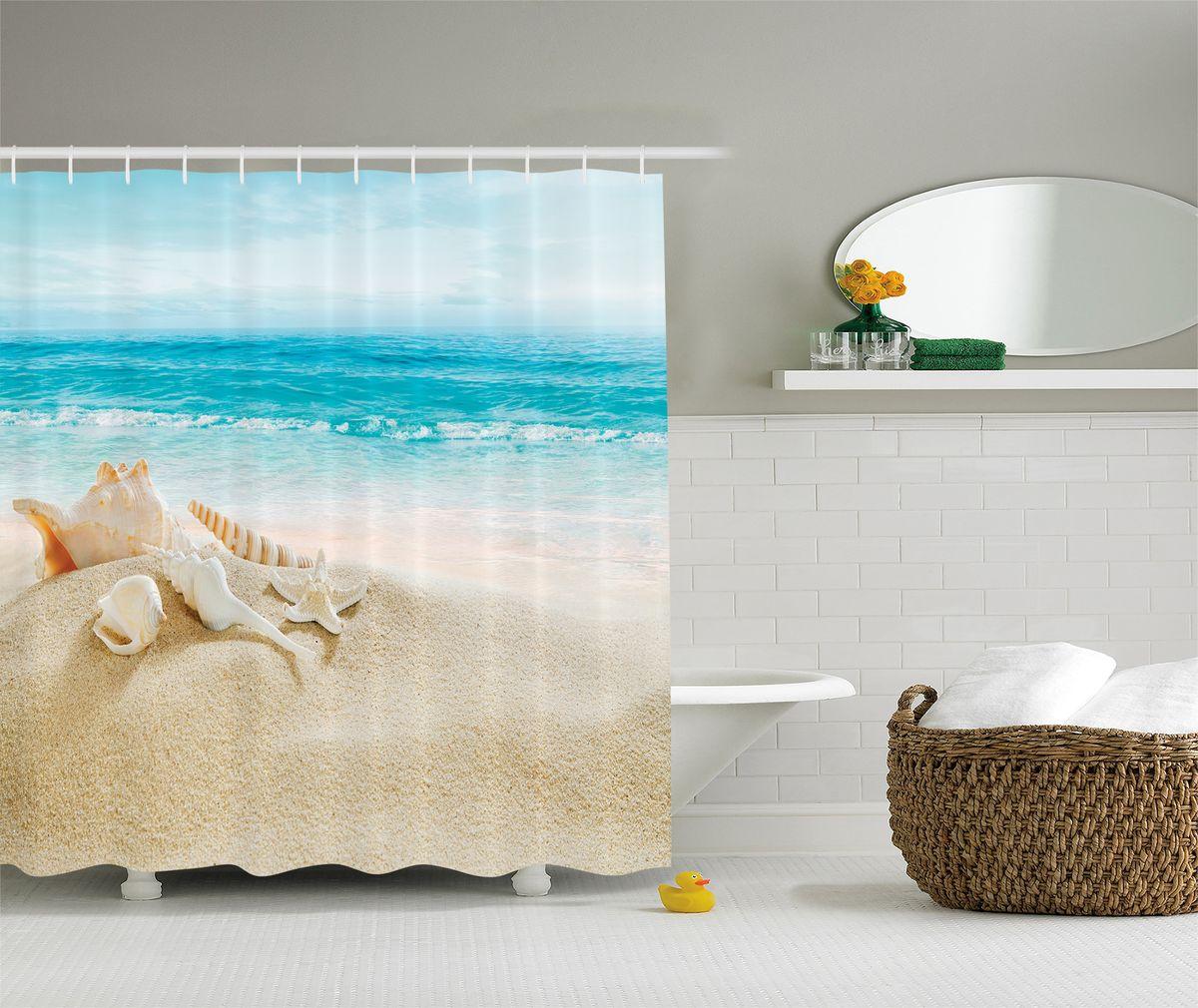 Штора для ванной комнаты Magic Lady Ракушки на теплом песке, 180 х 200 смшв_7645Компания Сэмболь изготавливает шторы из высококачественного сатена (полиэстер 100%). При изготовлении используются специальные гипоаллергенные чернила для прямой печати по ткани, безопасные для человека и животных. Экологичность продукции Magic lady и безопасность для окружающей среды подтверждены сертификатом Oeko-Tex Standard 100. Крепление: крючки (12 шт.). Внимание! При нанесении сублимационной печати на ткань технологическим методом при температуре 240 С, возможно отклонение полученных размеров, указанных на этикетке и сайте, от стандартных на + - 3-5 см. Мы стараемся максимально точно передать цвета изделия на наших фотографиях, однако искажения неизбежны и фактический цвет изделия может отличаться от воспринимаемого по фото. Обратите внимание! Шторы изготовлены из полиэстра сатенового переплетения, а не из сатина (хлопок). Размер шторы 180*200 см. В комплекте 1 штора и 12 крючков.