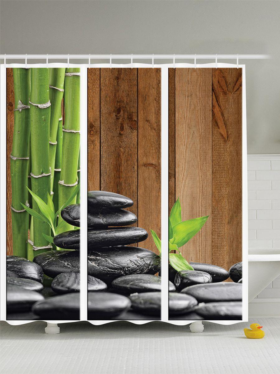 Штора для ванной комнаты Magic Lady Стебли бамбука и камни, 180 х 200 см391602Штора Magic Lady Стебли бамбука и камни, изготовленная из высококачественного сатена (полиэстер 100%), отлично дополнит любой интерьер ванной комнаты. При изготовлении используются специальные гипоаллергенные чернила для прямой печати по ткани, безопасные для человека.В комплекте: 1 штора, 12 крючков. Обращаем ваше внимание, фактический цвет изделия может незначительно отличаться от представленного на фото.