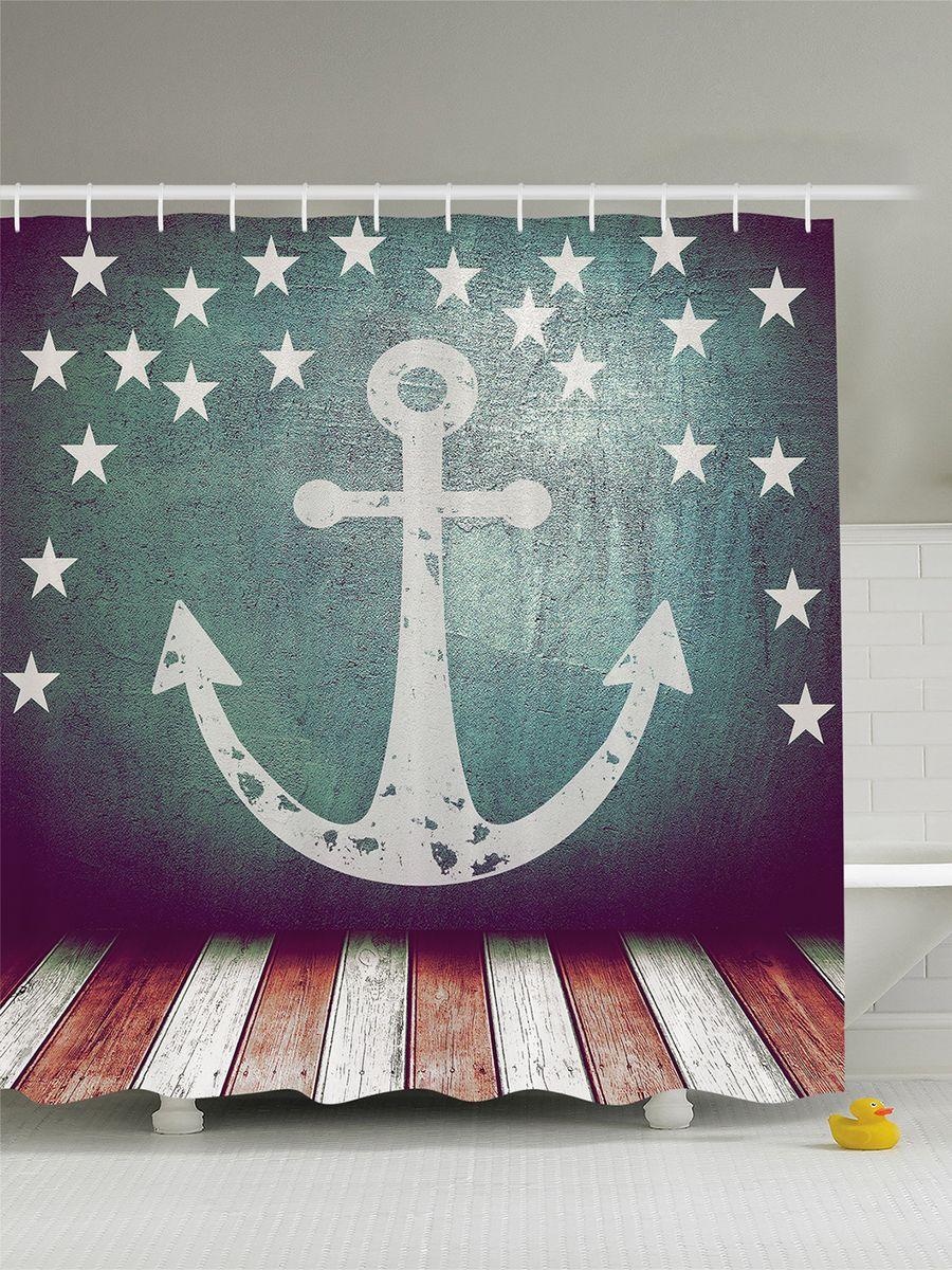 Штора для ванной комнаты Magic Lady Флаг со звездами и якорем над помостом, 180 х 200 см68/5/4Штора Magic Lady Флаг со звездами и якорем над помостом, изготовленная из высококачественного сатена (полиэстер 100%), отлично дополнит любой интерьер ванной комнаты. При изготовлении используются специальные гипоаллергенные чернила для прямой печати по ткани, безопасные для человека.В комплекте: 1 штора, 12 крючков. Обращаем ваше внимание, фактический цвет изделия может незначительно отличаться от представленного на фото.