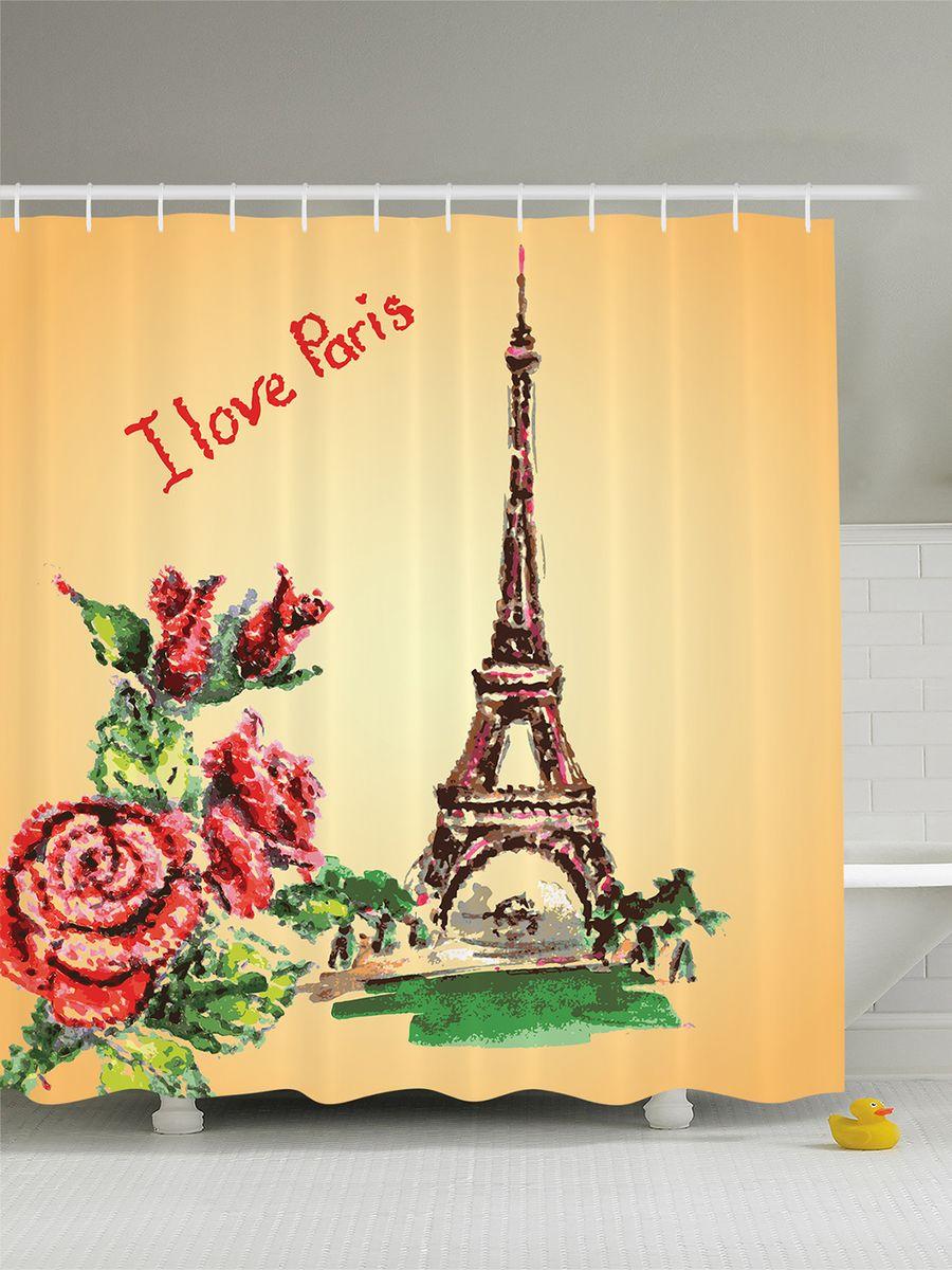 Штора для ванной комнаты Magic Lady Розы и Эйфелева башня, 180 х 200 см ограничители для книг magic home ограничитель для книг эйфелева башня