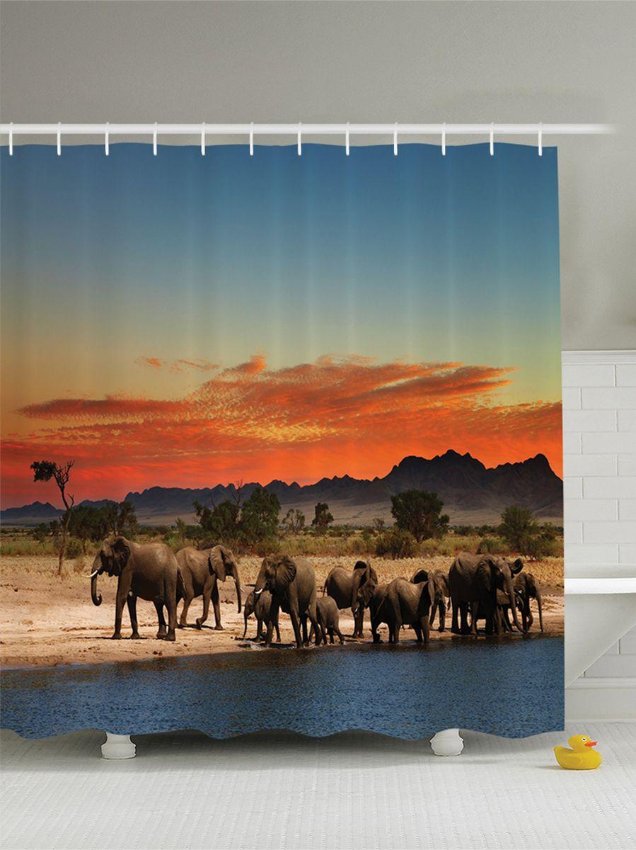 Штора для ванной комнаты Magic Lady Стадо слонов в Африке. Закат на фоне гор, 180 х 200 см391602Штора Magic Lady Стадо слонов в Африке. Закат на фоне гор, изготовленная из высококачественного сатена (полиэстер 100%), отлично дополнит любой интерьер ванной комнаты. При изготовлении используются специальные гипоаллергенные чернила для прямой печати по ткани, безопасные для человека.В комплекте: 1 штора, 12 крючков. Обращаем ваше внимание, фактический цвет изделия может незначительно отличаться от представленного на фото.