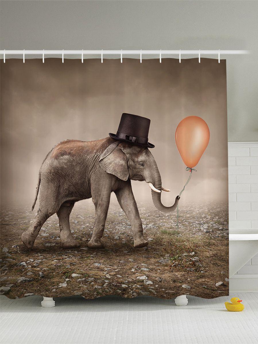 Штора для ванной комнаты Magic Lady Слоник в цилиндре, 180 х 200 см391602Штора Magic Lady Слоник в цилиндре, изготовленная из высококачественного сатена (полиэстер 100%), отлично дополнит любой интерьер ванной комнаты. При изготовлении используются специальные гипоаллергенные чернила для прямой печати по ткани, безопасные для человека.В комплекте: 1 штора, 12 крючков. Обращаем ваше внимание, фактический цвет изделия может незначительно отличаться от представленного на фото.
