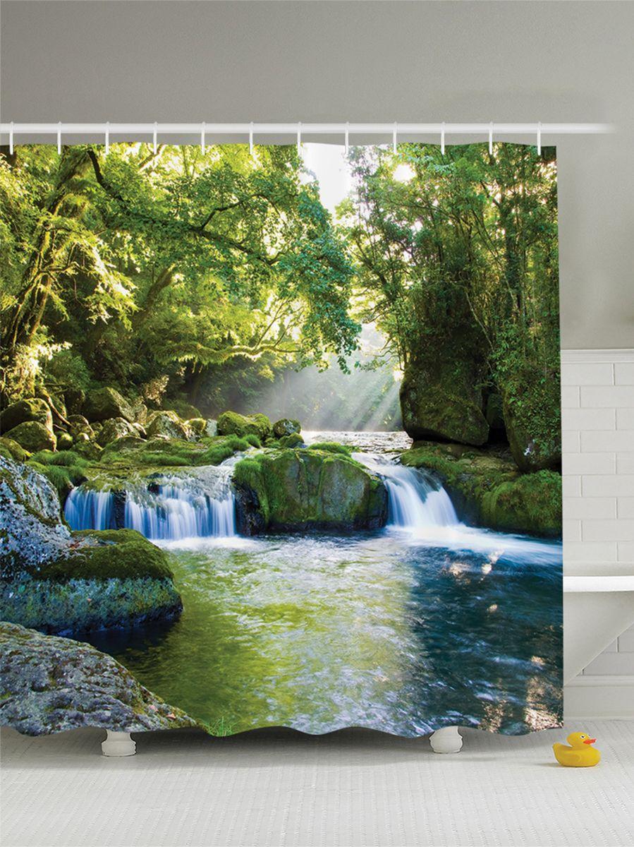 Штора для ванной комнаты Magic Lady Лесной водопад в солнечном свете, 180 х 200 см фотоштора для ванной утка принимает душ magic lady 180 х 200 см