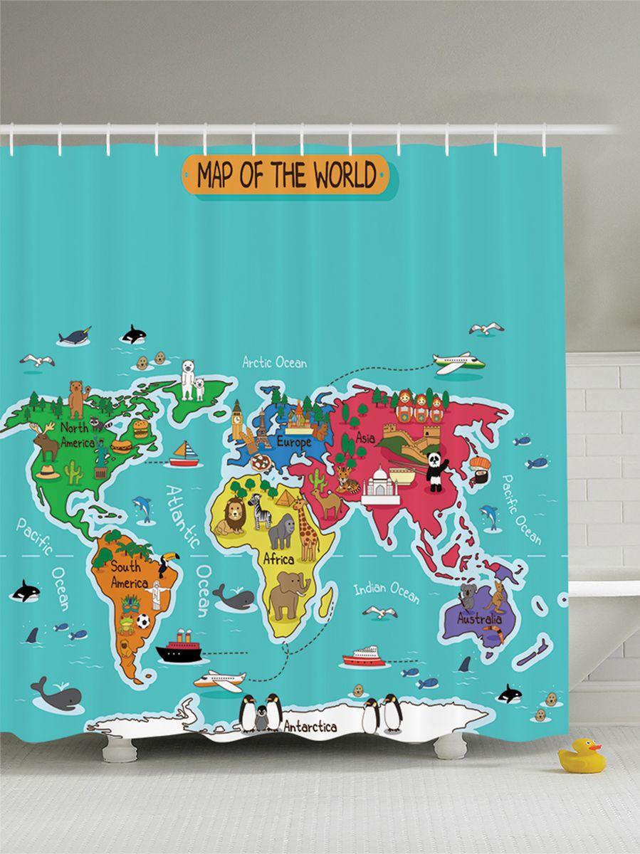Штора для ванной комнаты Magic Lady Карта мира, 180 х 200 смшв_8259Штора Magic Lady Карта мира, изготовленная из высококачественного сатена (полиэстер 100%), отлично дополнит любой интерьер ванной комнаты. При изготовлении используются специальные гипоаллергенные чернила для прямой печати по ткани, безопасные для человека.В комплекте: 1 штора, 12 крючков. Обращаем ваше внимание, фактический цвет изделия может незначительно отличаться от представленного на фото.